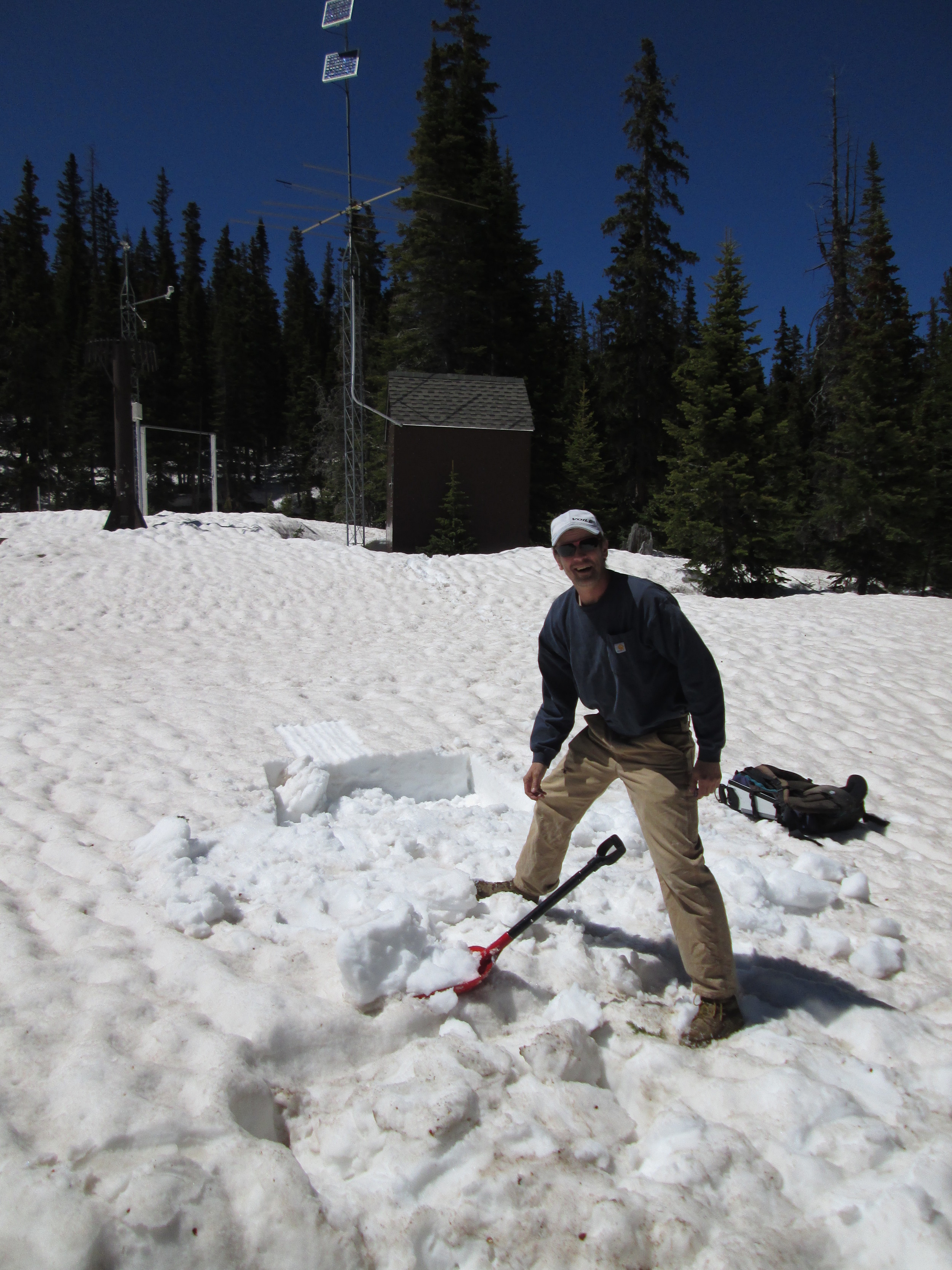 Adam Cwiklin, water and wastewater superintendent for the Town of Fraser and a participant in the Colorado Foundation for Water Education's Water Leaders Program, assisted with the June 3 snow profile at Berthoud Summit. At the time, very high snowmelt rates had driven the Fraser River 'out of bank' and generated minor flooding in his service area.