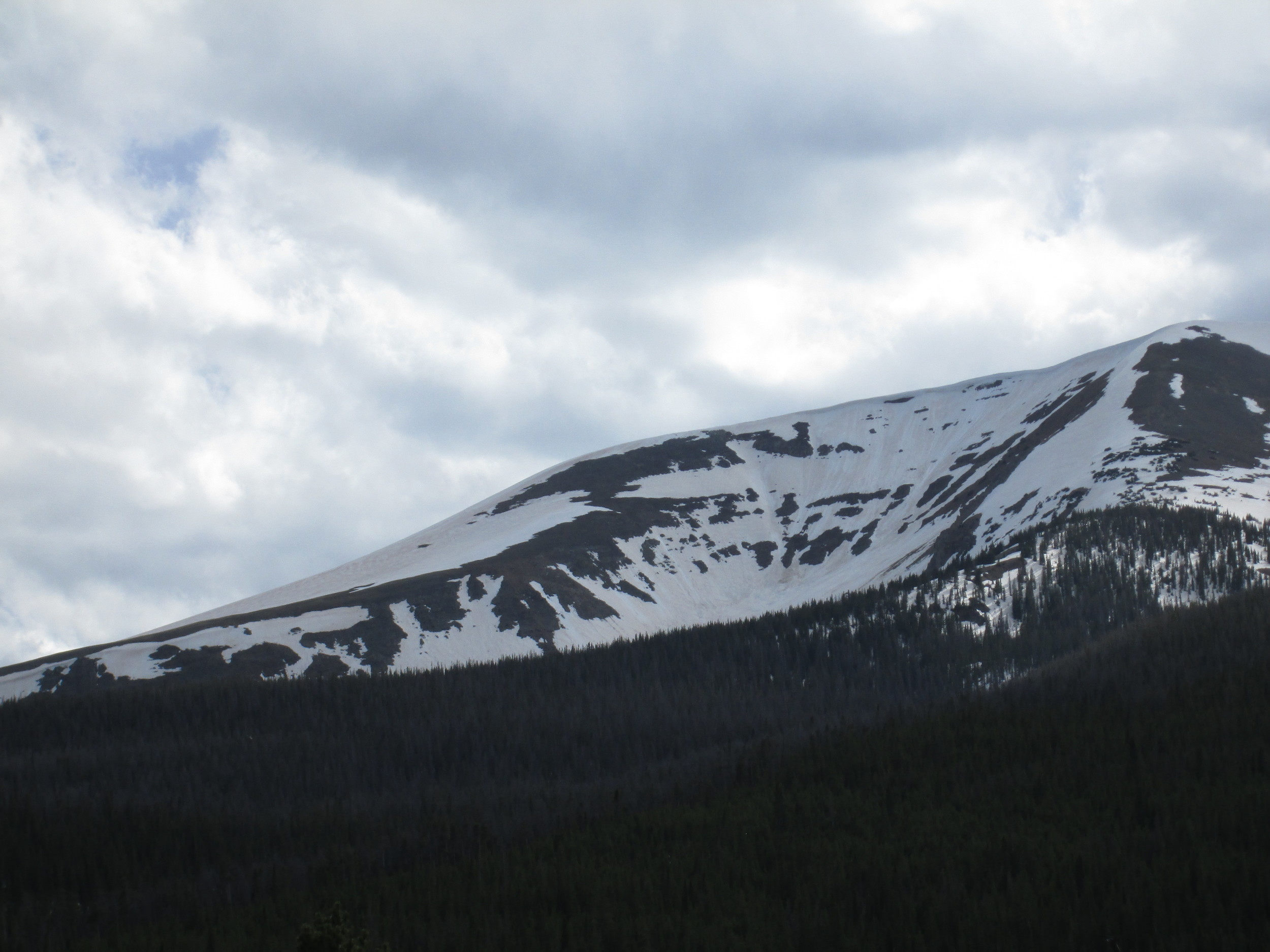 The characteristic fawn color of dust event D8, from May 11, was apparent on much of the snow surface on this east aspect of Parkview Mountain, interspersed with lingering patches of the Memorial Day weekend clean snowfall.