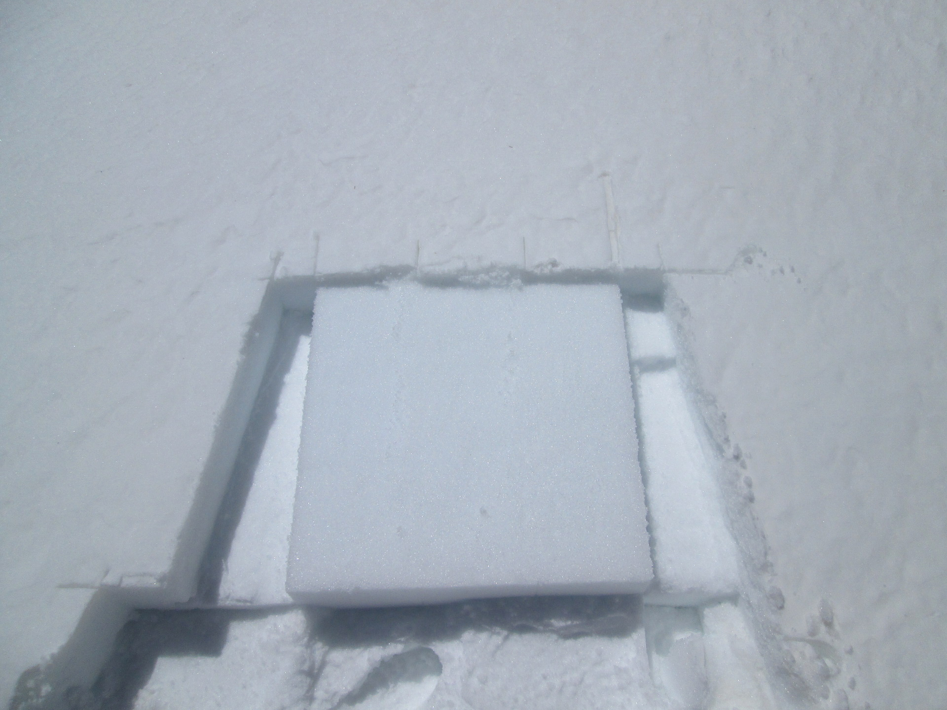 After collecting the 0.5m2 sample of D3, this clean white (square) surface showed clear contrast with the surrounding snowcover where the merged D1/2/3 dust layers was covered by less than a centimeter of new snow.