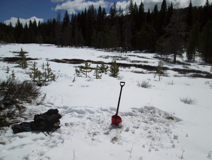 The Willow Creek Pass CODOS site on April 21, 2015.  The shovel marks the location of the March 19 snow profile, with the new profile immediately to the right (already 'backfilled').  The Willow Creek Snow Course and Snotel site are located along the treeline in the distance, across the creek.  Our site is virtually the only bush-free location in the meadow where a series of 'clean' snow profiles is feasible.