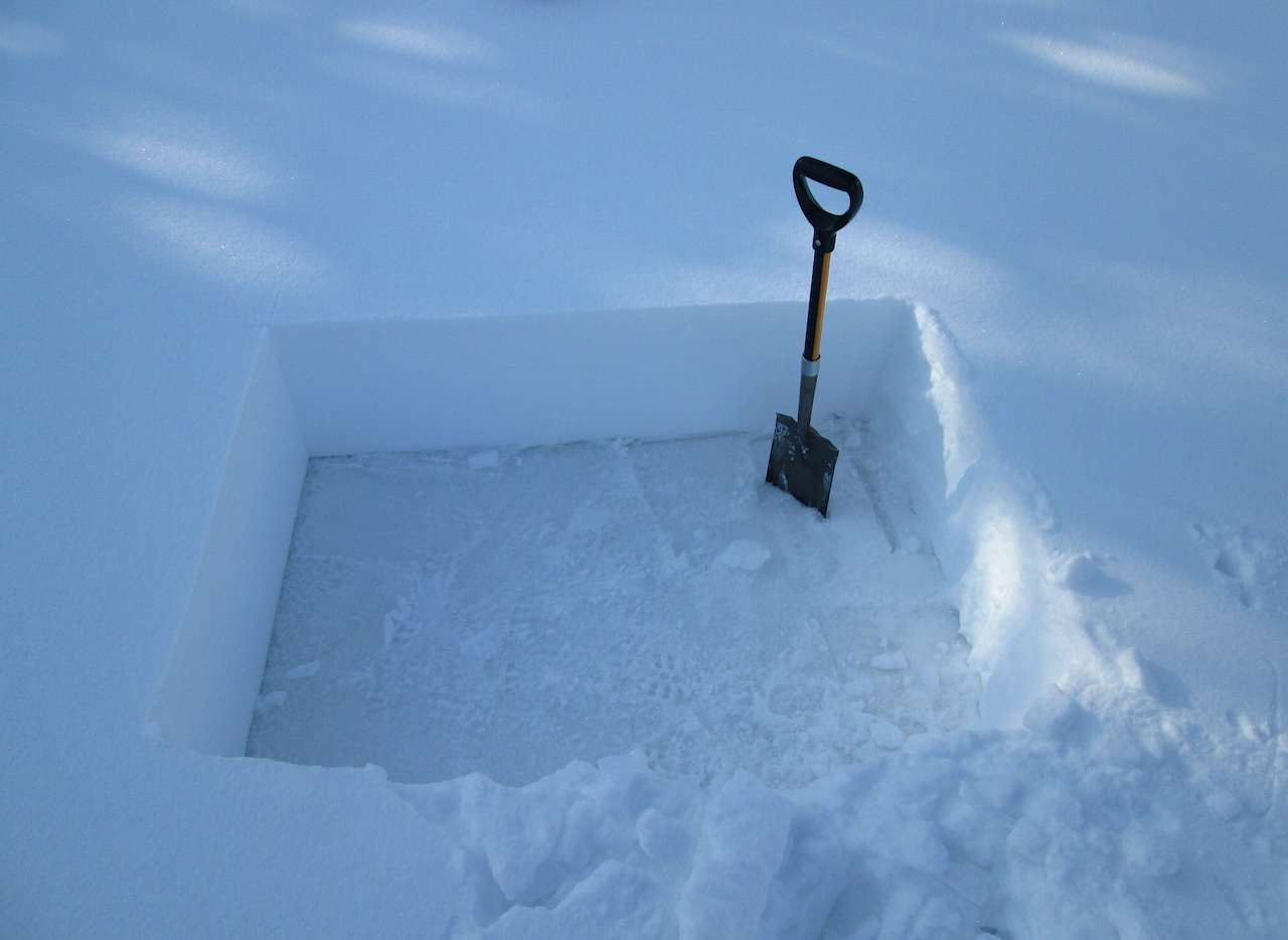 As at most CODOS sites during April, an often thick and very tough set of ice layers underlay the recent new snow layer.  This 'snow' was much too strong to saw through or use a regular snow shovel to dig and required, instead use of a steel sod spade to excavate.