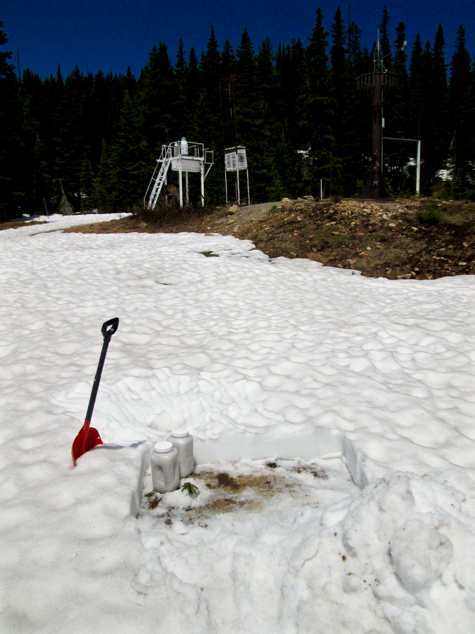 "On June 16, 2015 the Berthoud Summit CODOS snow profile site retained a few inches of sun-cupped snow.  Most of the snow pillow at the Snotel site in the background was snow-free at the time.  An ""all layers merged"" (ALM) sample consisting of at least dust layer D3 and potentially layers D2 and D1 was collected from the rough snow surface immediately to the right of the shovel, with minimal quantities of vegetation debris."
