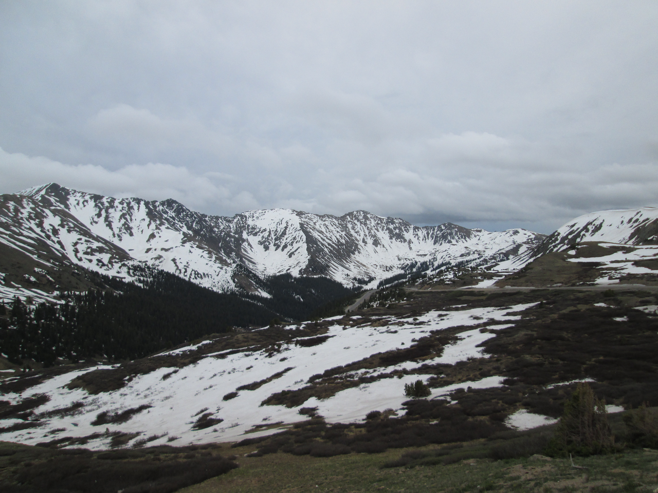 Looking south from Loveland Pass at (from left to right) Grizzly Peak (13,427'), Lenawee Mountain (13,201'), and the Arapahoe Basin ski area, on June 16, 2015.