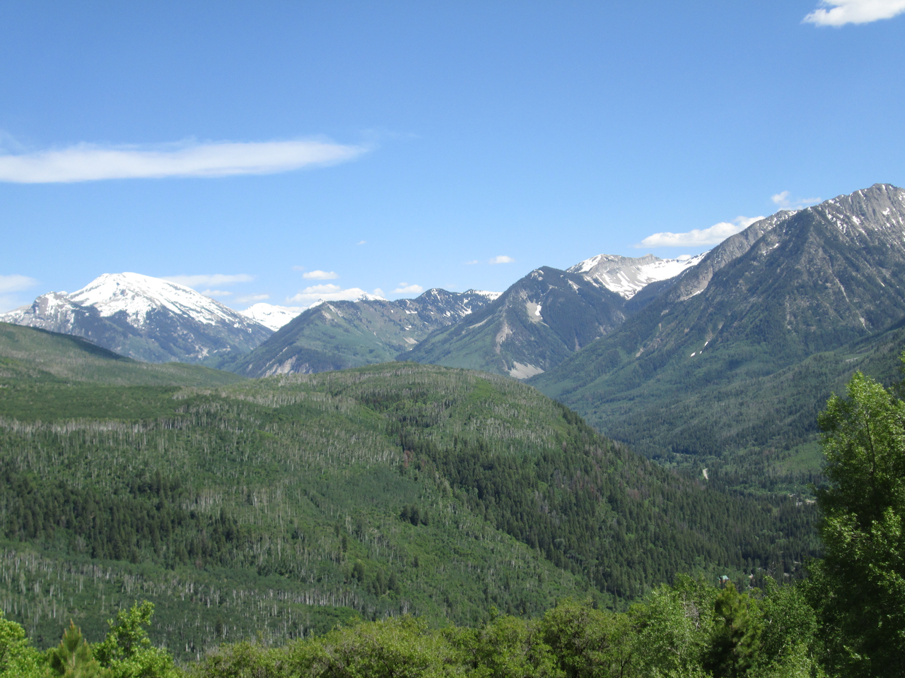 As in other locales, by June 17, 2015 snowline had retreated to treeline and above in the upper Crystal River watershed and appeared, at a distance, comparatively 'clean'.