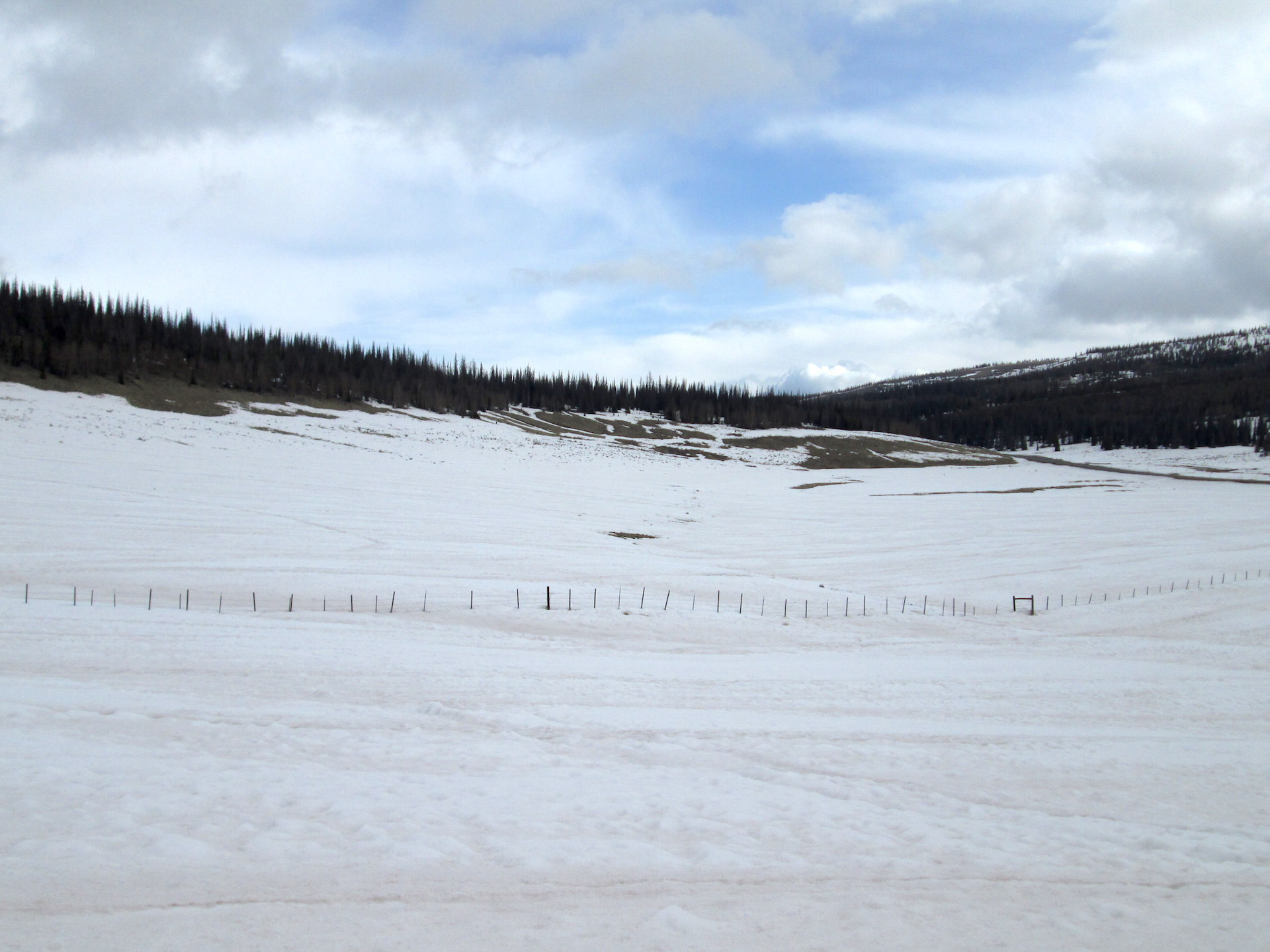 Surrounding landscape at Spring Creek CODOS site on April 15. Dust was observed on surface on March 23 over majority of landscape, on April 15 dust was exposed entirely on snow and bare ground exists in many places.