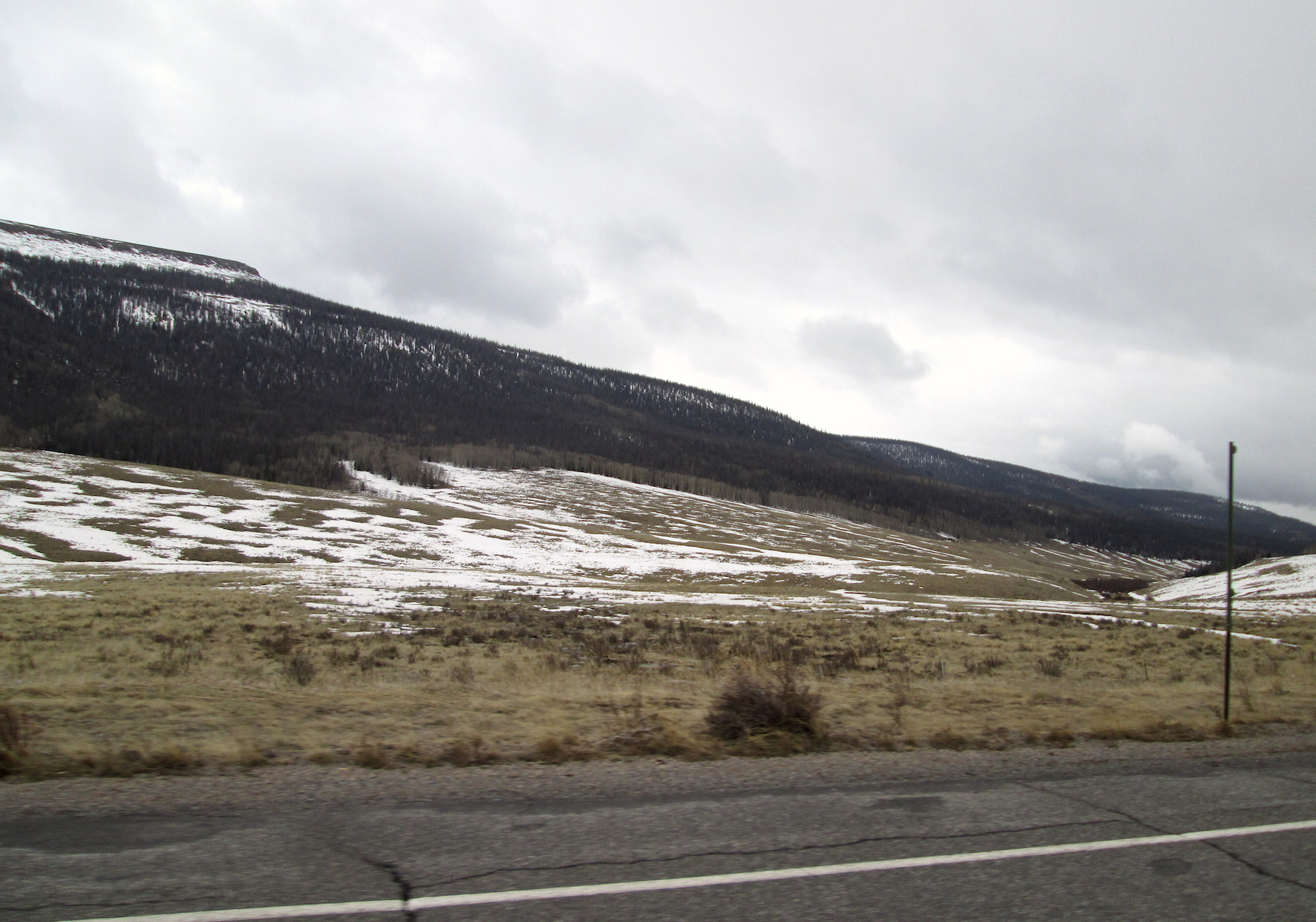 A few miles down the road from the Spring Creek site on April 15.  Snow cover depletes quickly with elevation.