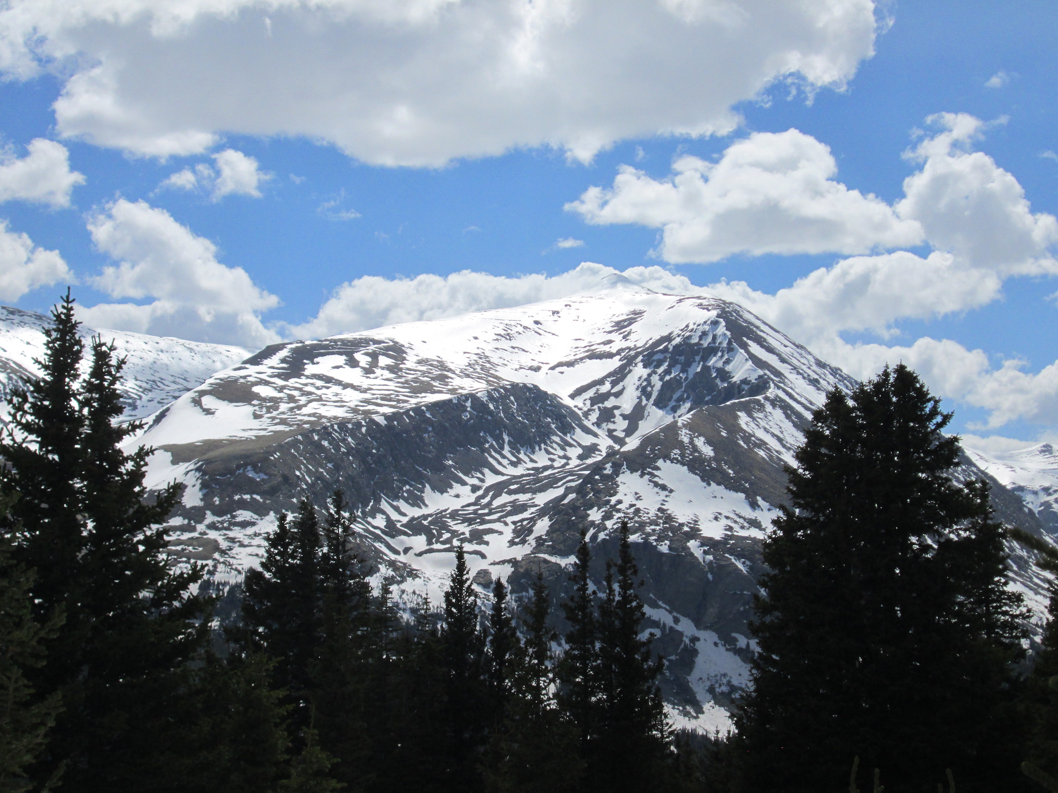Photo taken from Hoosier Pass CODOS site looking at Mt. Bross. Similar to Berthoud and Loveland Pass, dust deposition in this area is light. Further to the southwest the Collegiate Peaks received a greater amount of dust deposition.