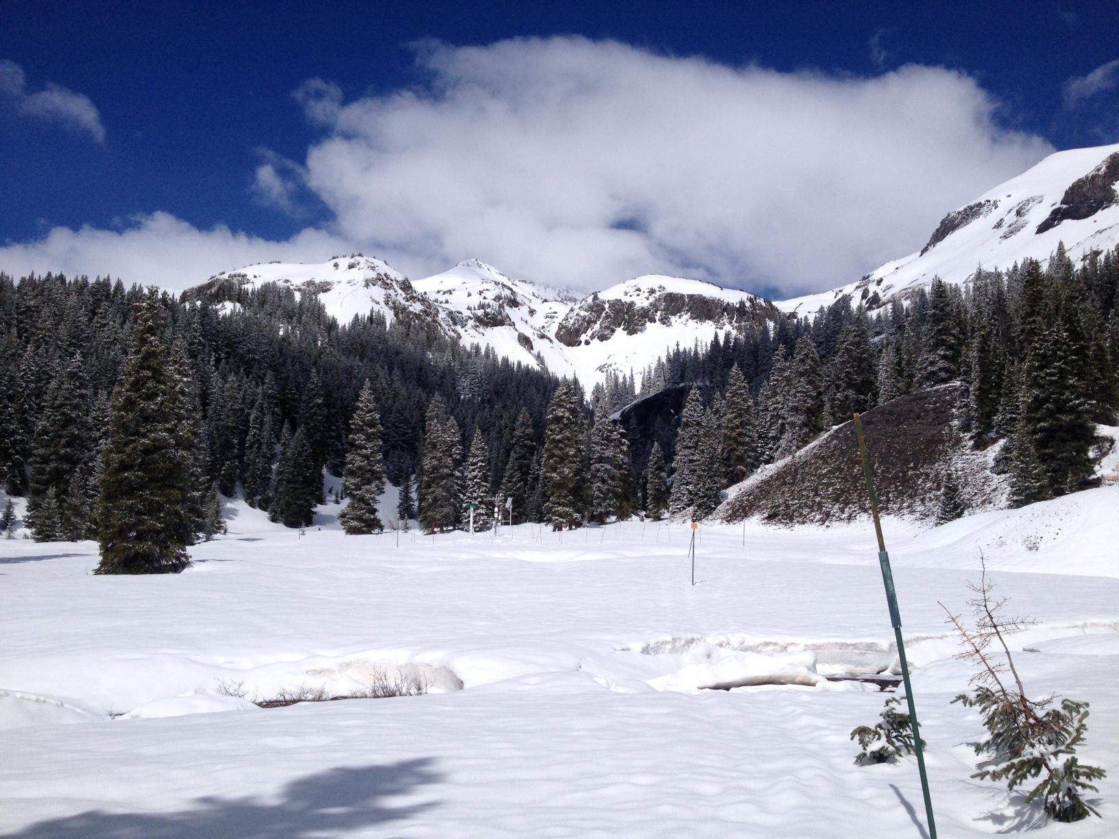 """A view of SASP on May 27, after receiving 0.9"""" precipitation. After this event, albedo declined rapidly and streamflow surged in SBB and most watersheds in Colorado."""