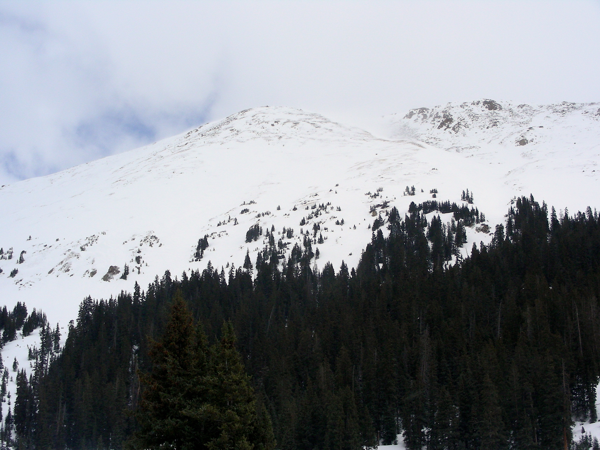Peak near Loveland Pass, picture taken from Grizzly sample site.  As of the morning of April 9 dust was not visible on snow surface throughout landscape.