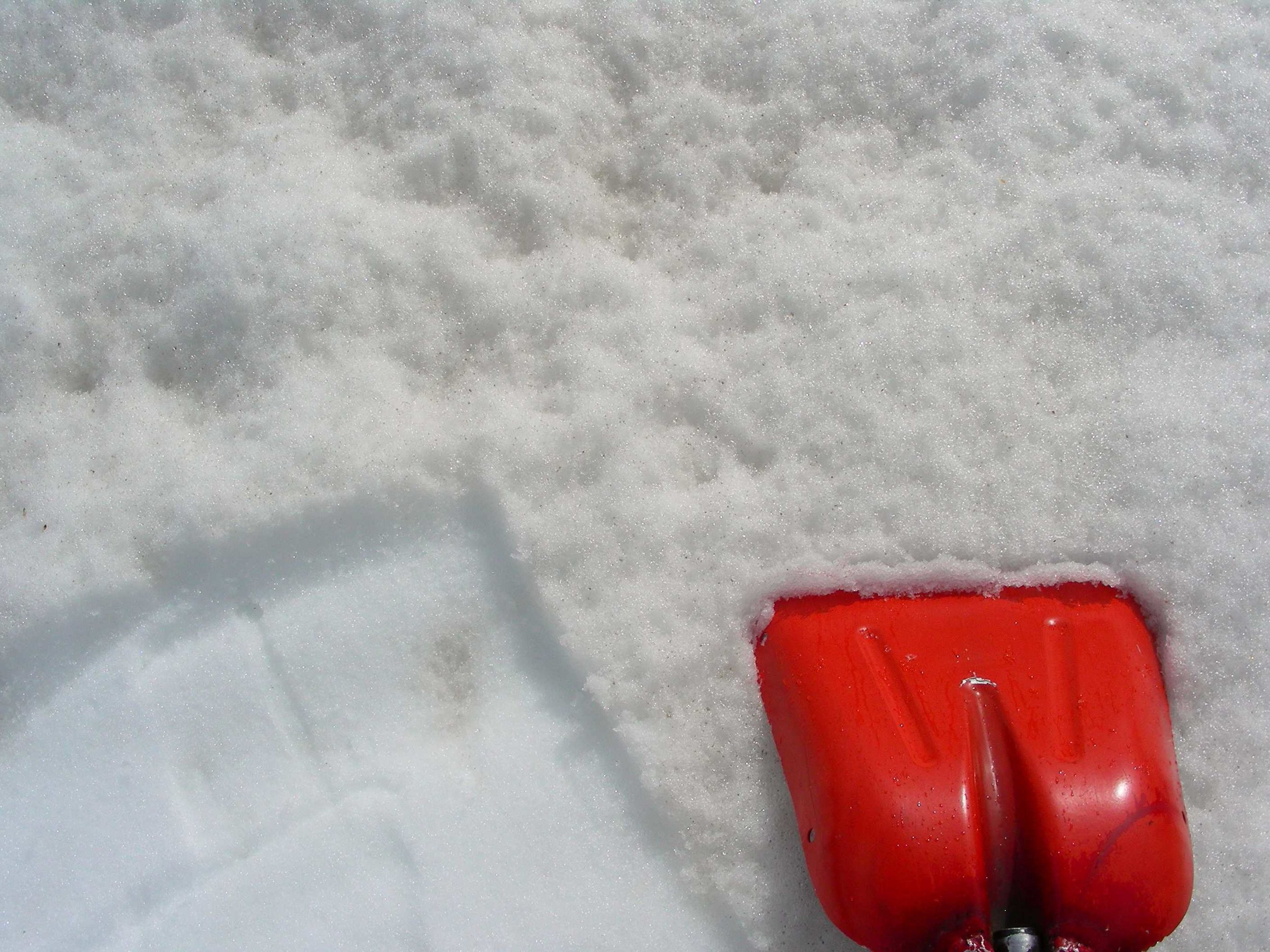 Picture of snow surface at Grande Mesa CODOS sample site on May 16.  Clean snow, located 2 cm below snow surface, is shown in the lower left corner.  The dusty and rough surface is seen in the rest of the photo.