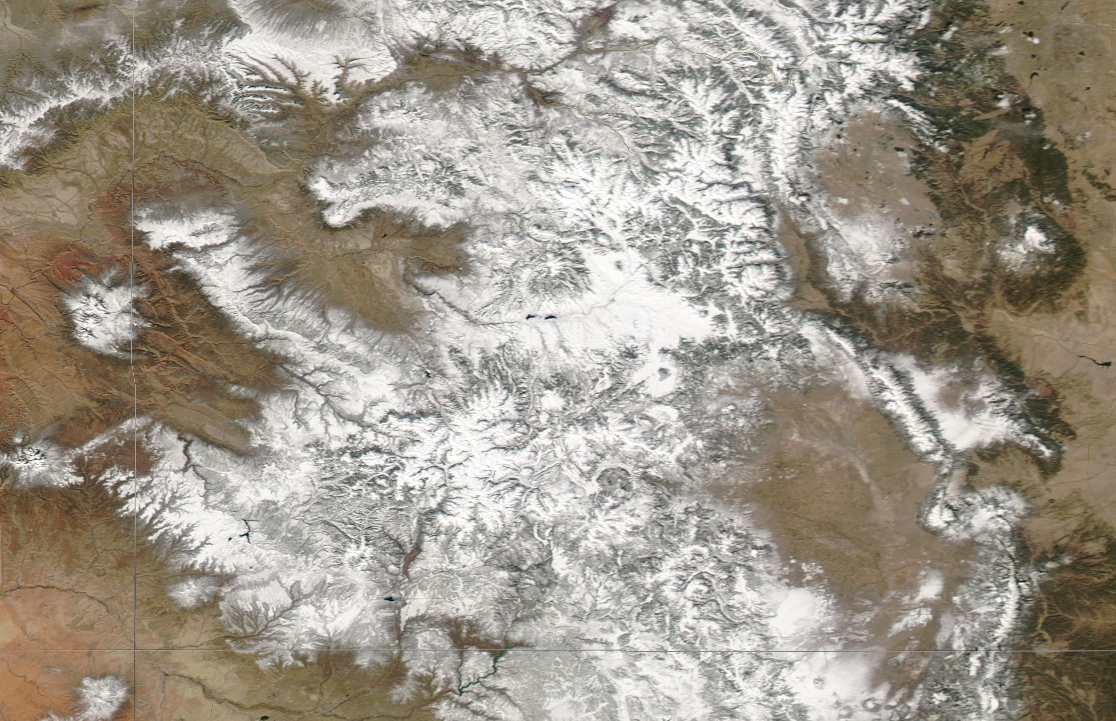 Snow cover in Colorado on March 2, 2017. Snow cover is widespread following a productive Dec/Jan/Feb.