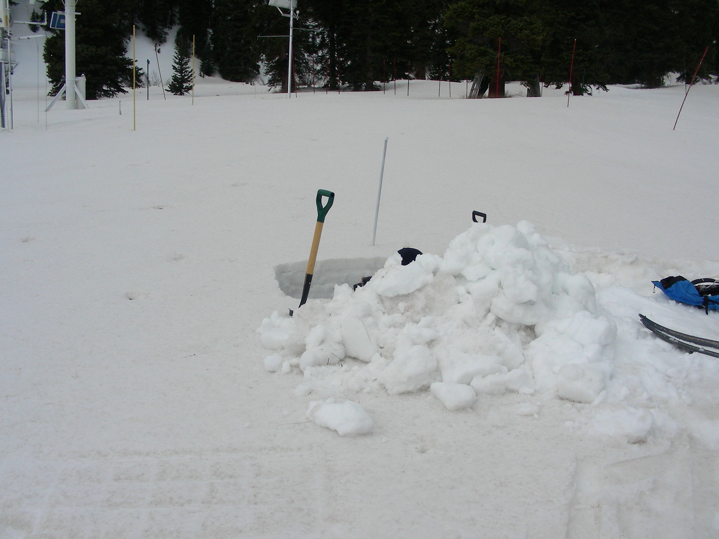 Pictures taken of dust-on-snow rarely accurately show the severity of the dust.   The clean snow in this picture is seen in the snow blocks.