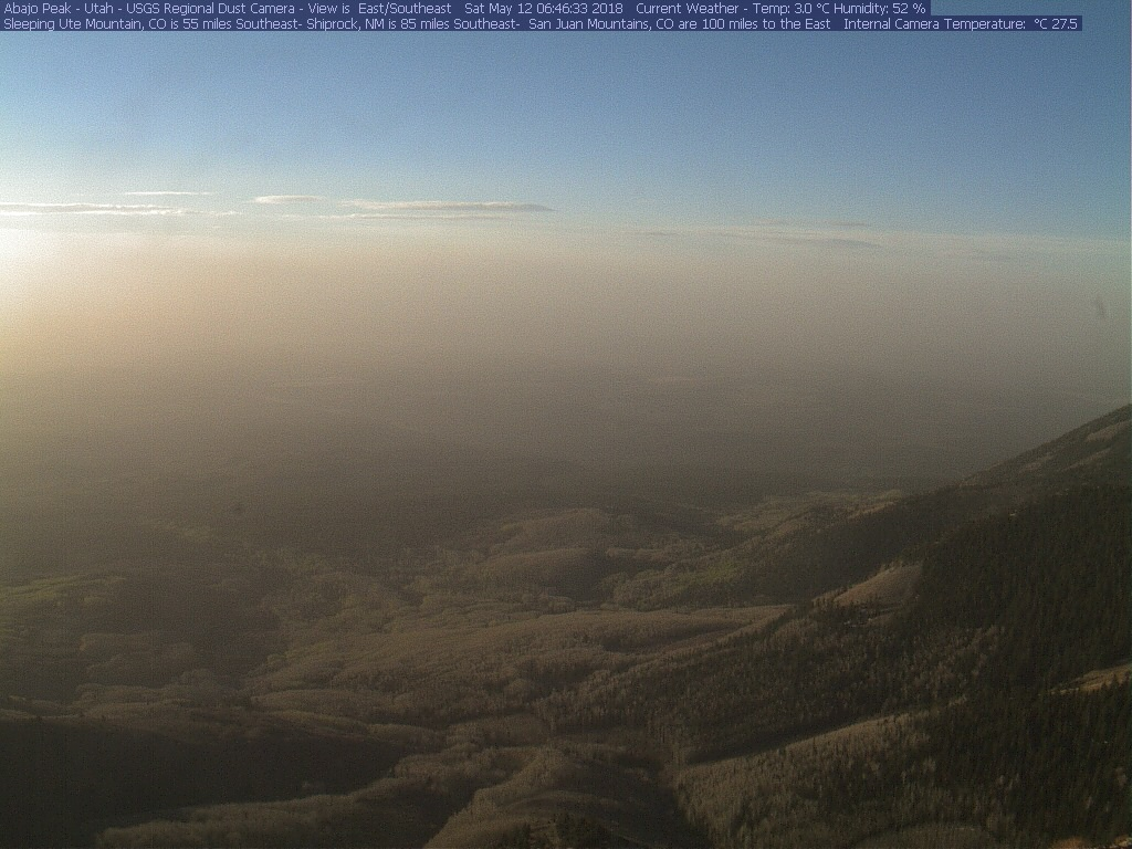 Photo from Abajo dust camera the morning of May 12. At the time of this writing more dust could be coming to the Colorado mountains.