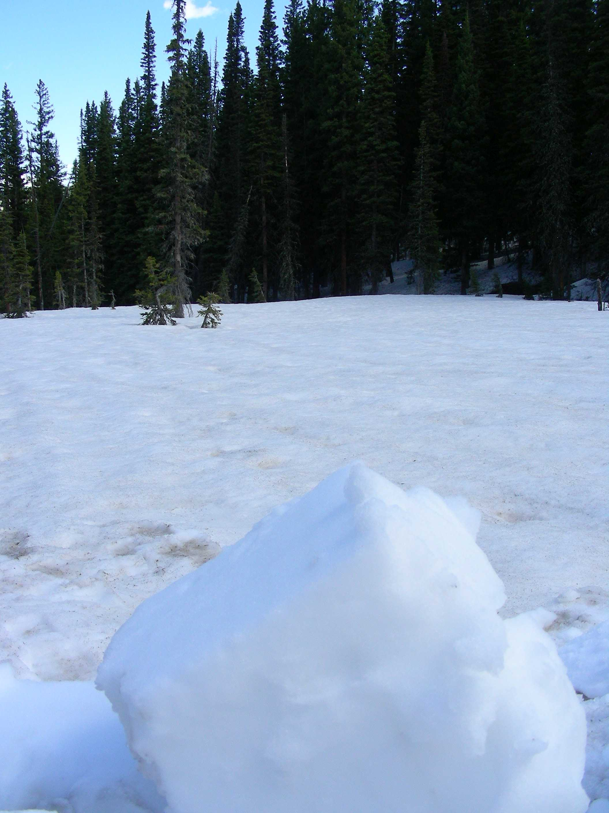 Clean snow block in foreground to show contrast with dirty snow surface at Rabbit Ears.