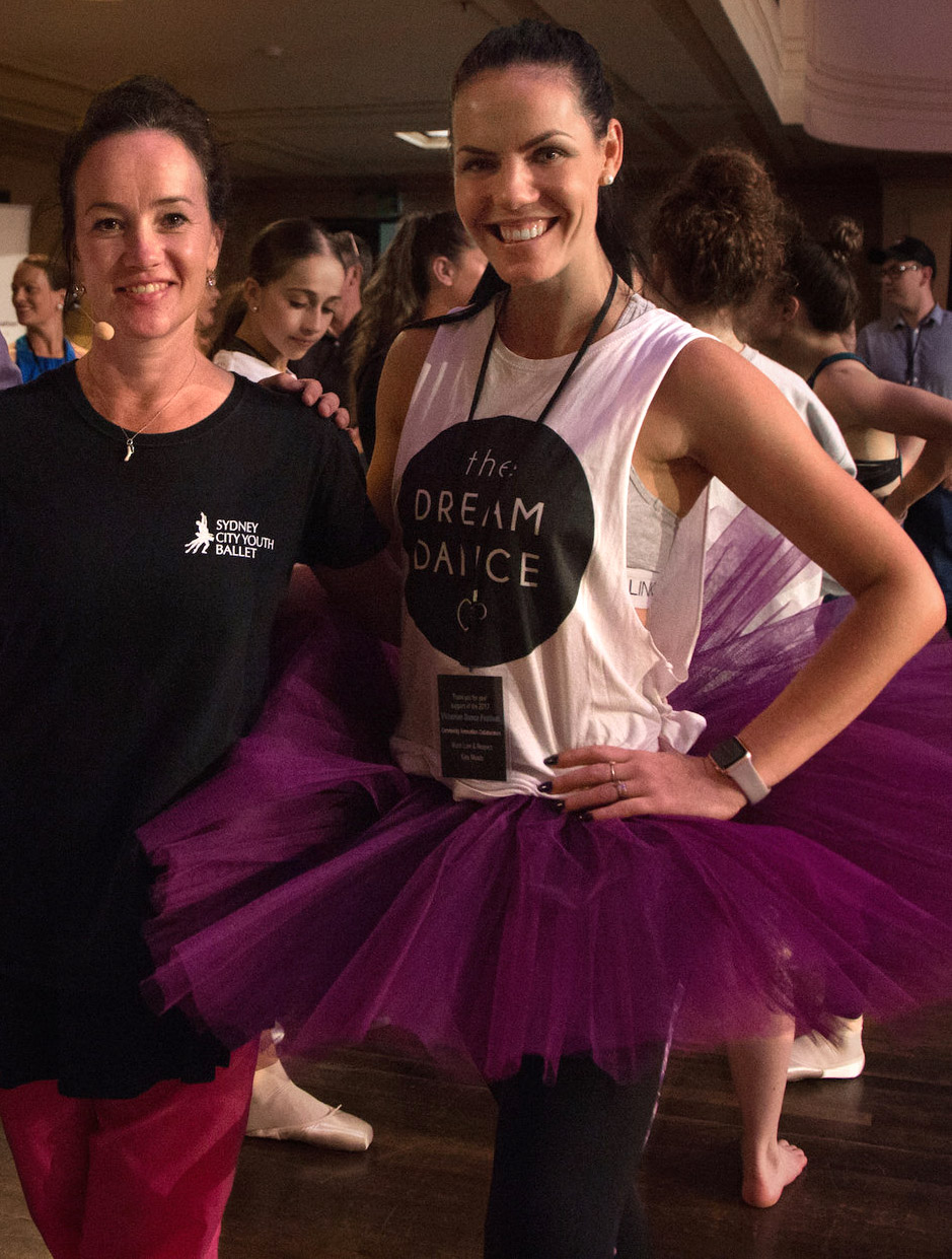 Elysia with one of Australian Ballet's favourite principal dancers, Lucinda Dunn.