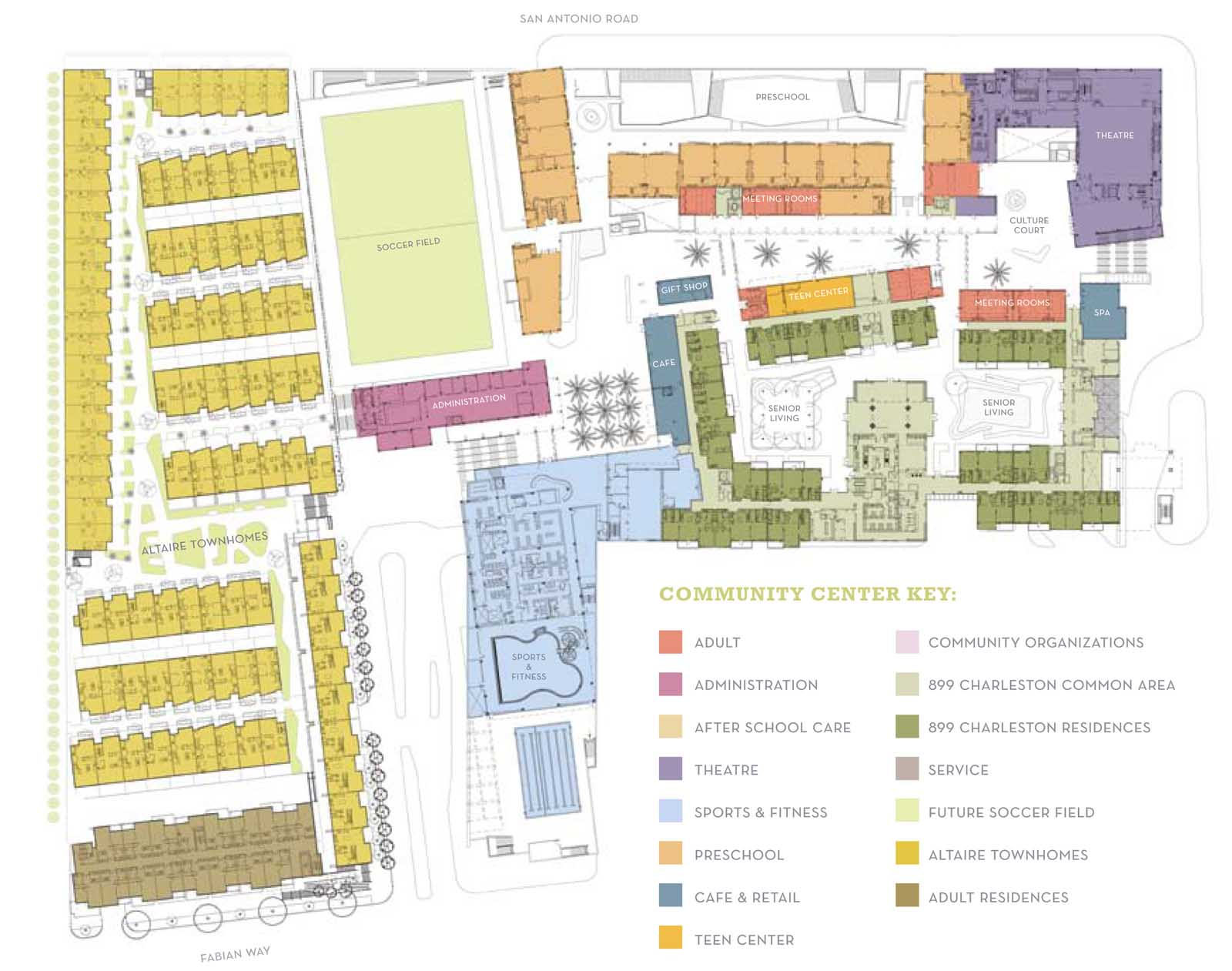 Image shows the entire layout of Altaire residences in yellow on the left, and the rest of the campus and fitness center on the right. (Click image to enlarge.)