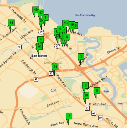 Map of Available One Bathroom Homes in San Mateo April 2007