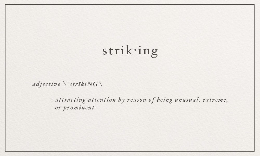 striking \´strīkiNG\ attracting attention by reason of being unusual, extreme, or prominent | image via: bekuh b.