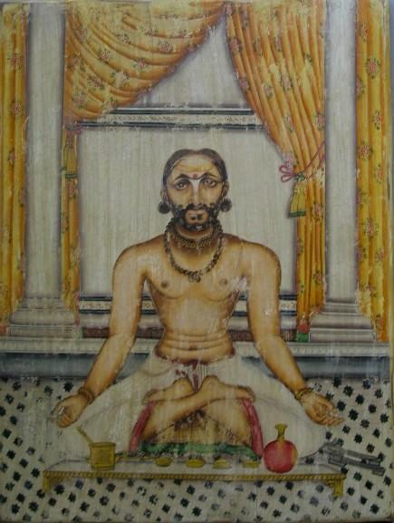 maharaja ram singh II of Jaipur at worship.jpg