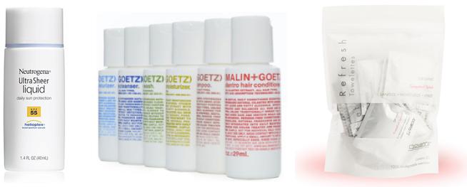 travel beauty + malin + neutrogena sunscreen + towelettes