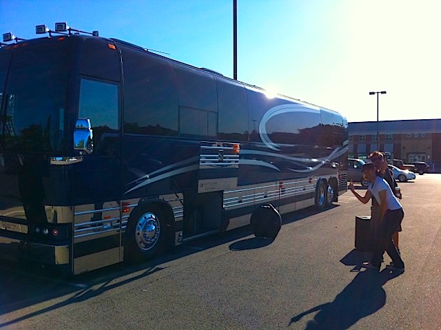 traveling on a music tour bus