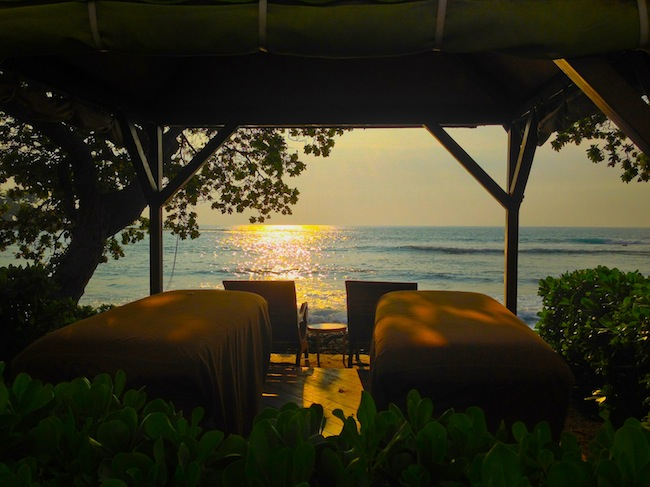 Waterfront spa hut at Fairmont Orchid