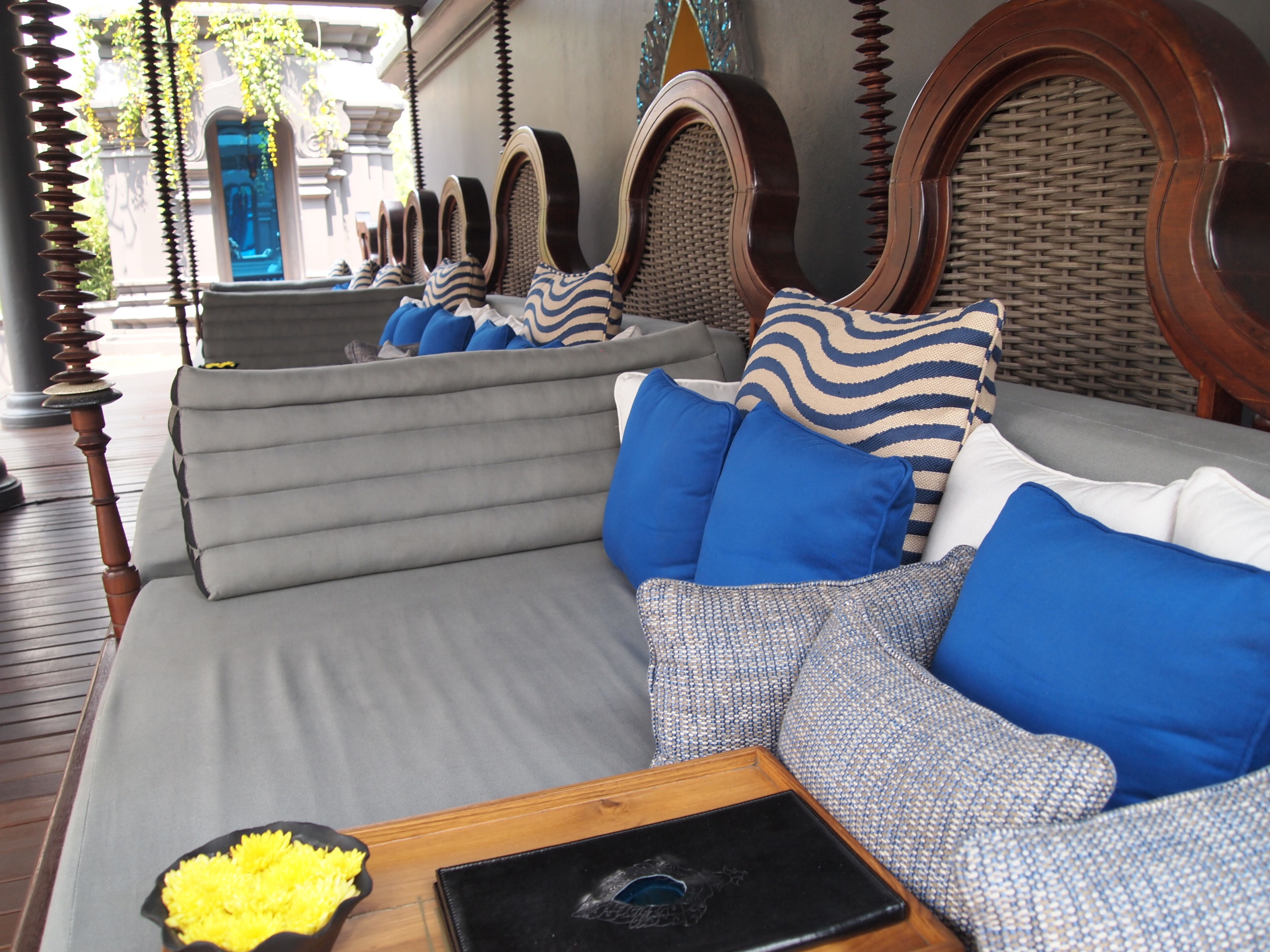Chic seating perched over main pool
