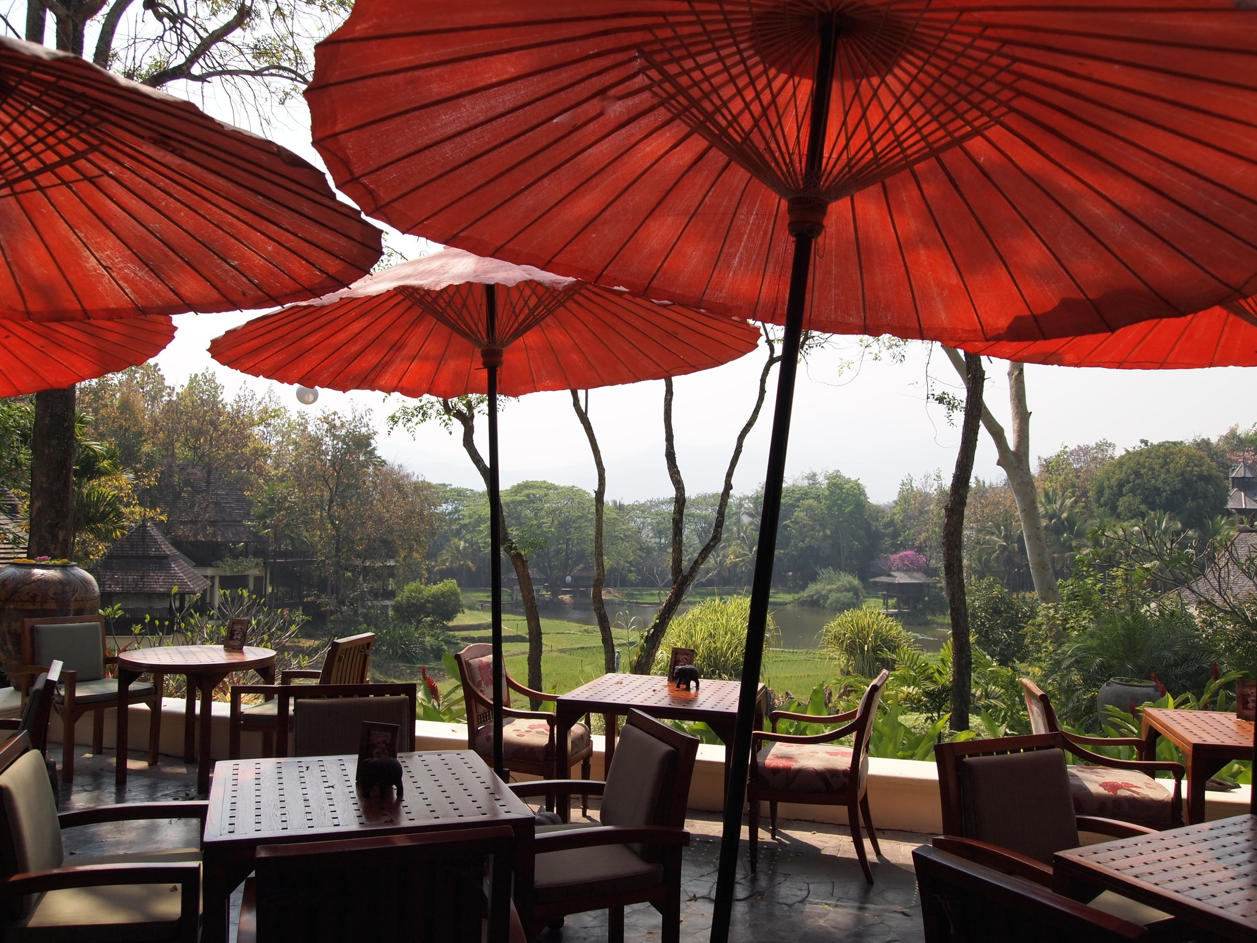 The dining scene at Sala Mae Rim, one of four resort restaurants