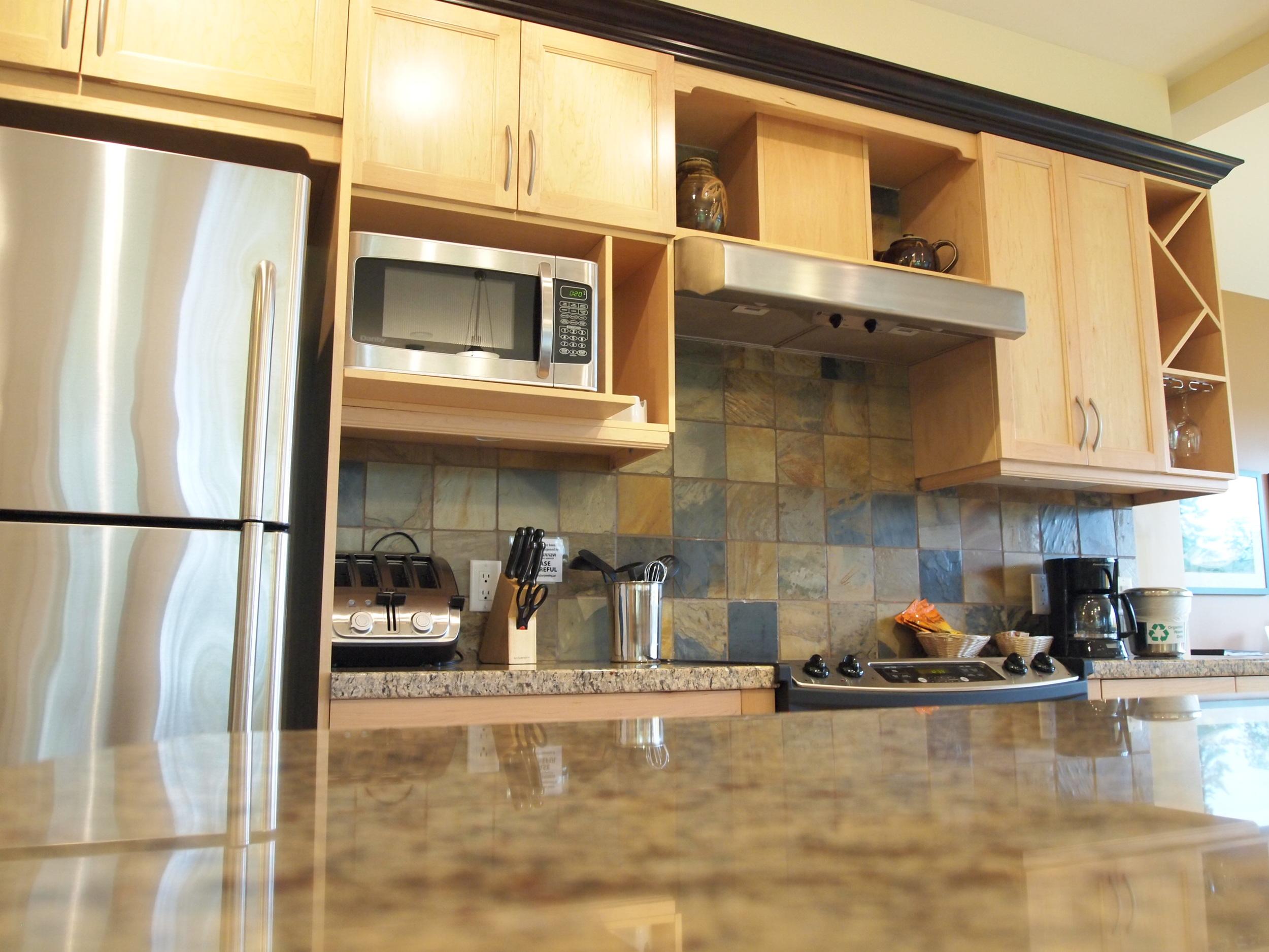 Gourmet kitchen, standard in each villa