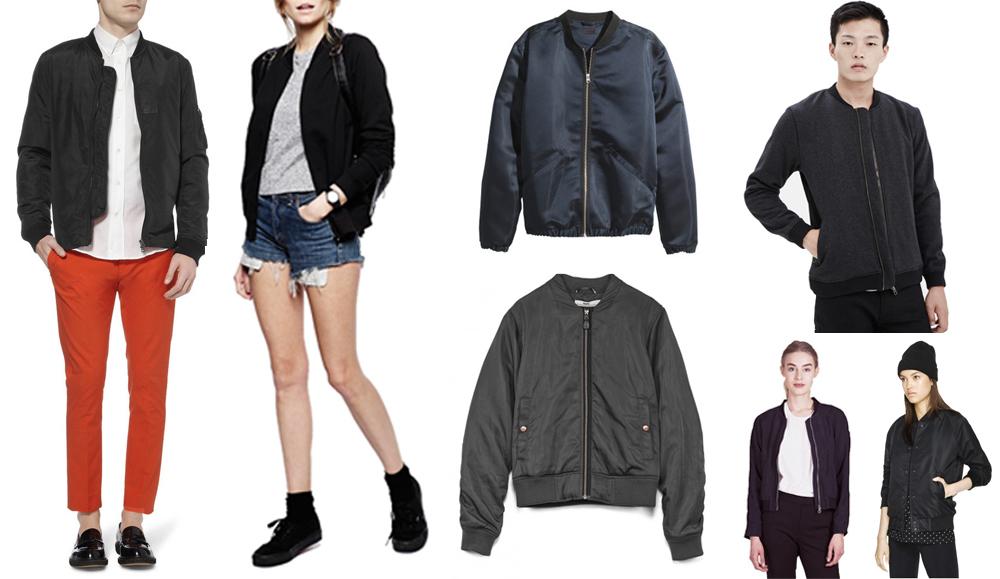 Clockwise from left:  Acne Studios  lightweight bomber jacket  , ASOS  bomber jacket with zip  , H&M  satin pilot jacket  , Won Hundred  anthracite melange leroy jacket  , Aritzia  salvatore jacket  , Minimarket  hapy navy blue jacket  , Hope  flight jacket