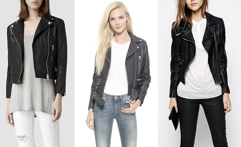 From left:  Allsaints  papin leather biker jacket  , Acne Studios  mock leather moto jacket  , Karen Millen  leather jacket with silver zip sleeves