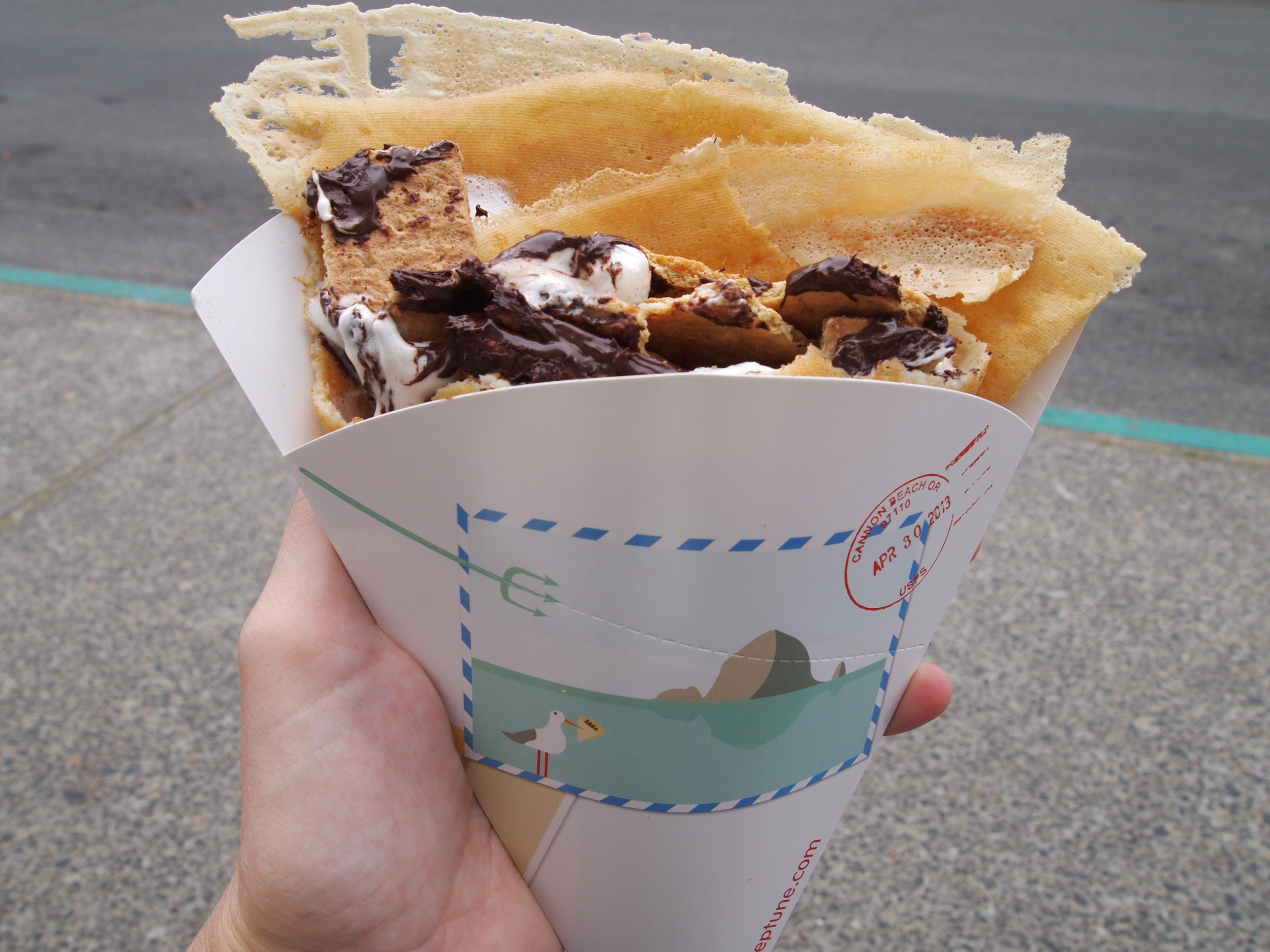"A ""Goonies"" crepe from  Crêpe Neptune . Basically s'mores ingredients wrapped in a crepe."