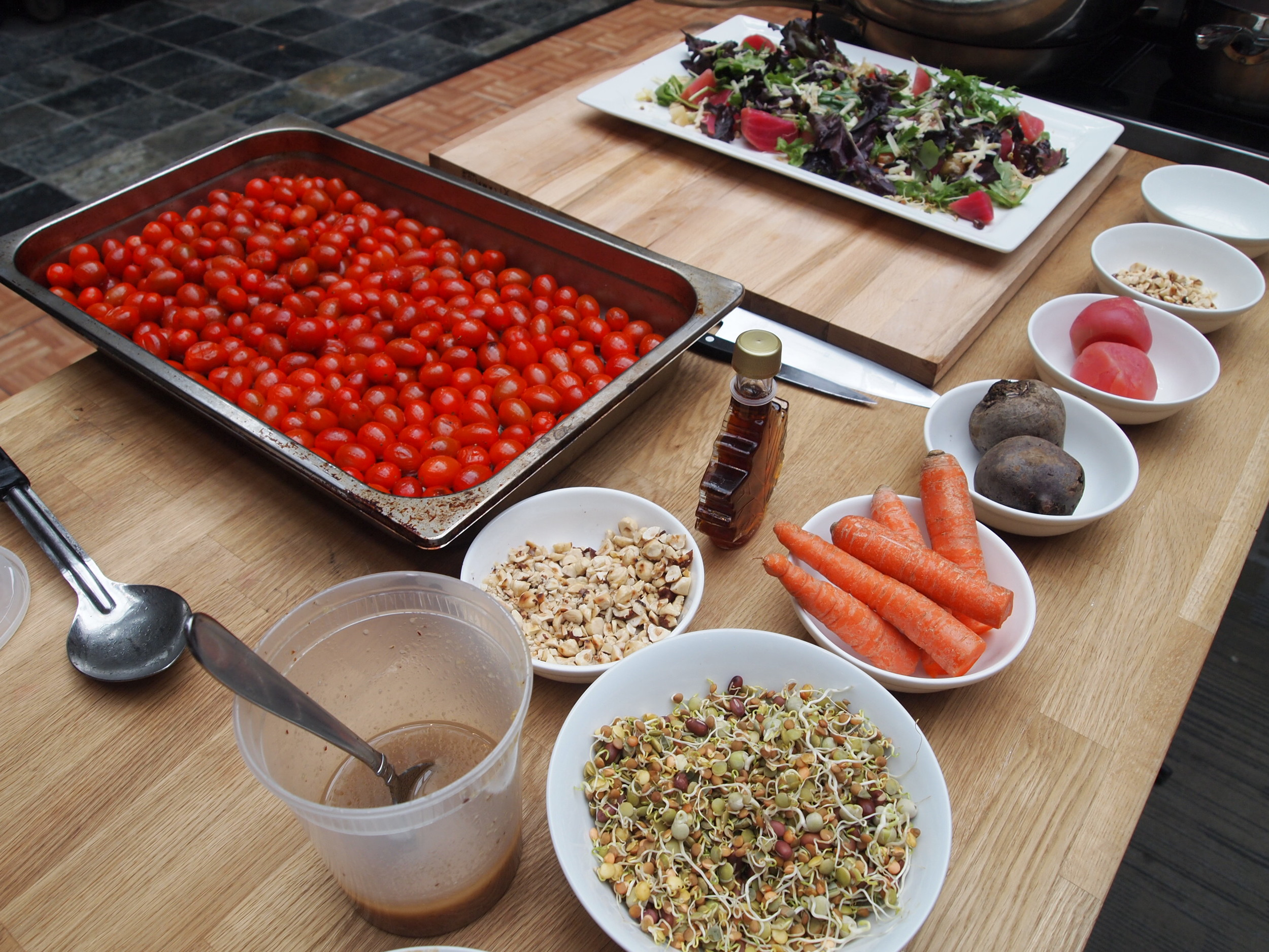 Culinary Stage Series:  Edible Canada  - Coast to Coast. Ingredients for the first course: Roasted carrot and beet salad.