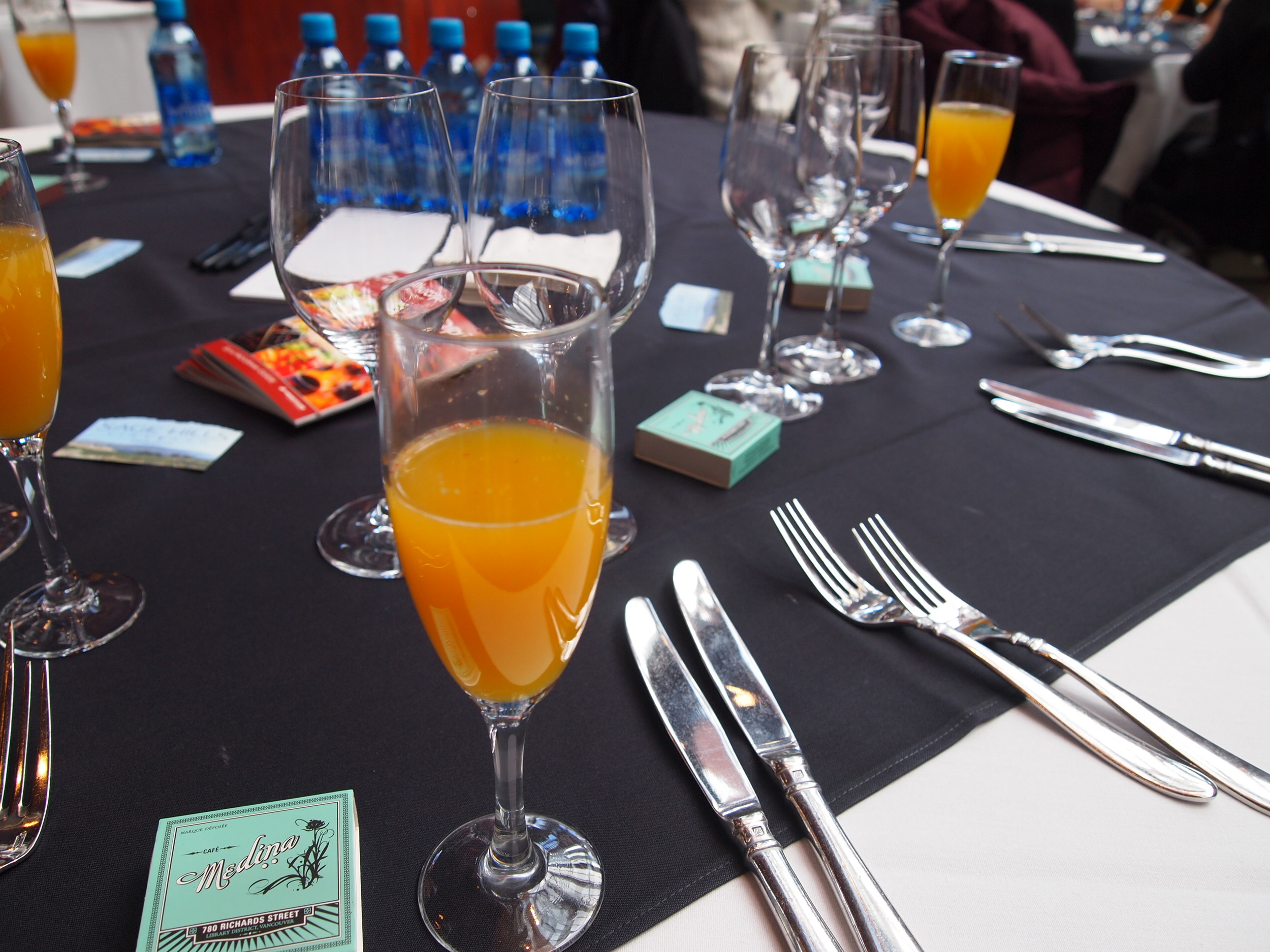 Culinary Stage Series:  Café  Medina. Moroccan mimosa. Cava and reduced orange juice infused with fig, fennel, coriander, pink peppercorn, saffron, anise and cinnamon {read: I could drink this every AM}.