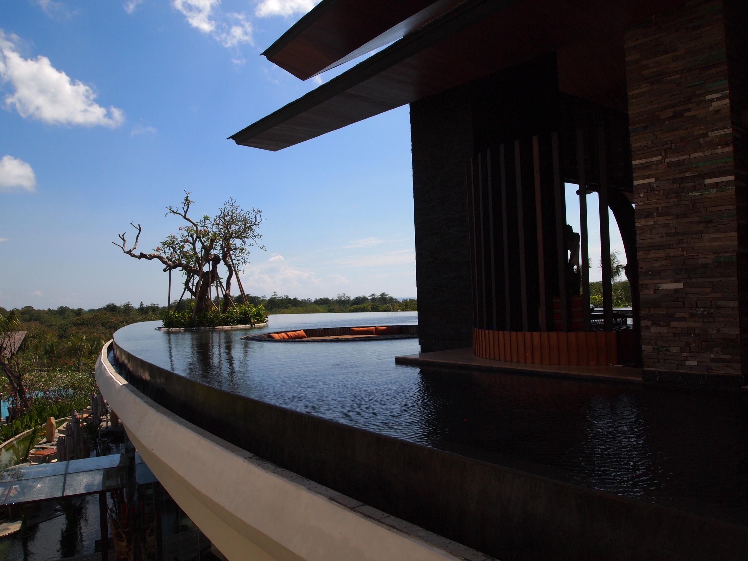 Infinity pool extending the lobby's reach.