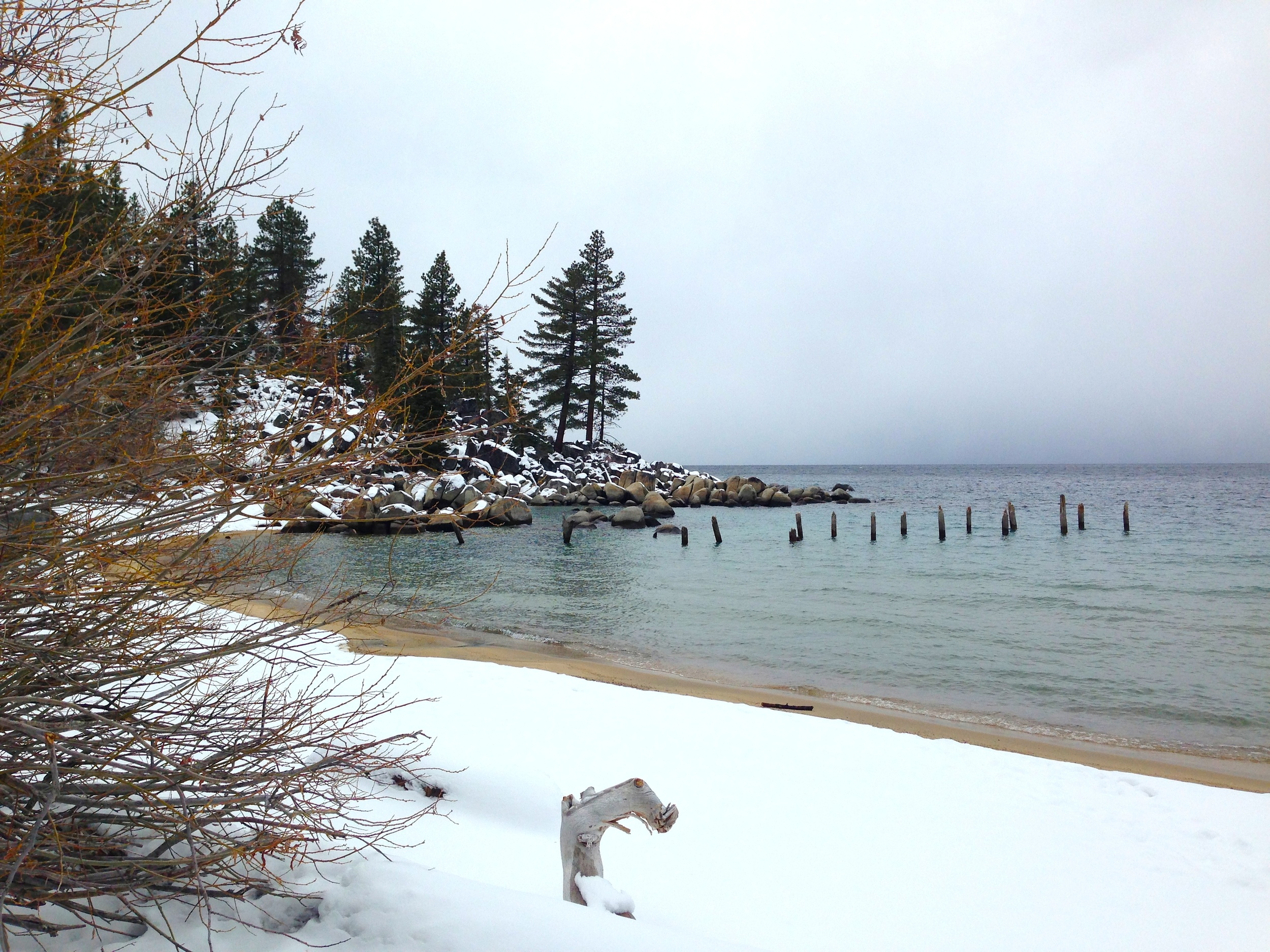 Lake Tahoe. Finding a snowy hiking trail off the side of a road---sans guidebook or insider tips---leading to the area's namesake lake.