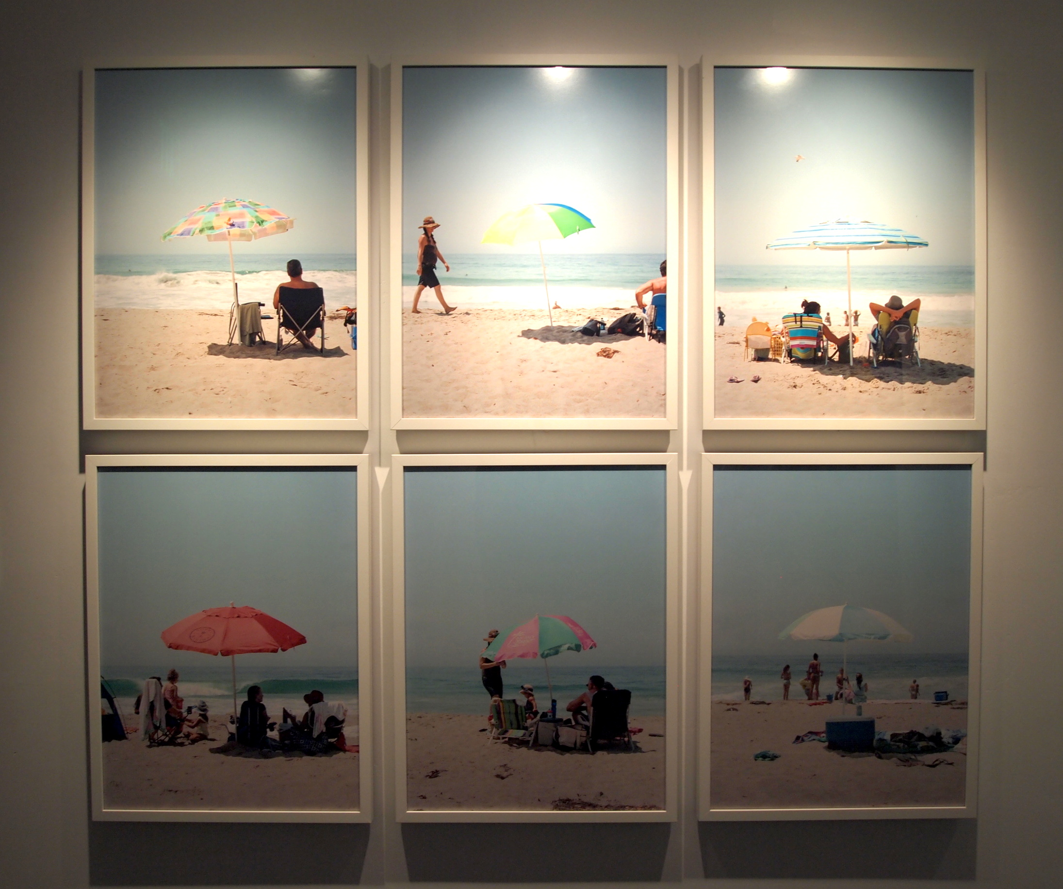 One of The Goodland's art installations: An entire wall of beach umbrella photos {only a few shown here} by Keegan Gibbs, who was raised near the ocean and inspired by its influence on humanity.