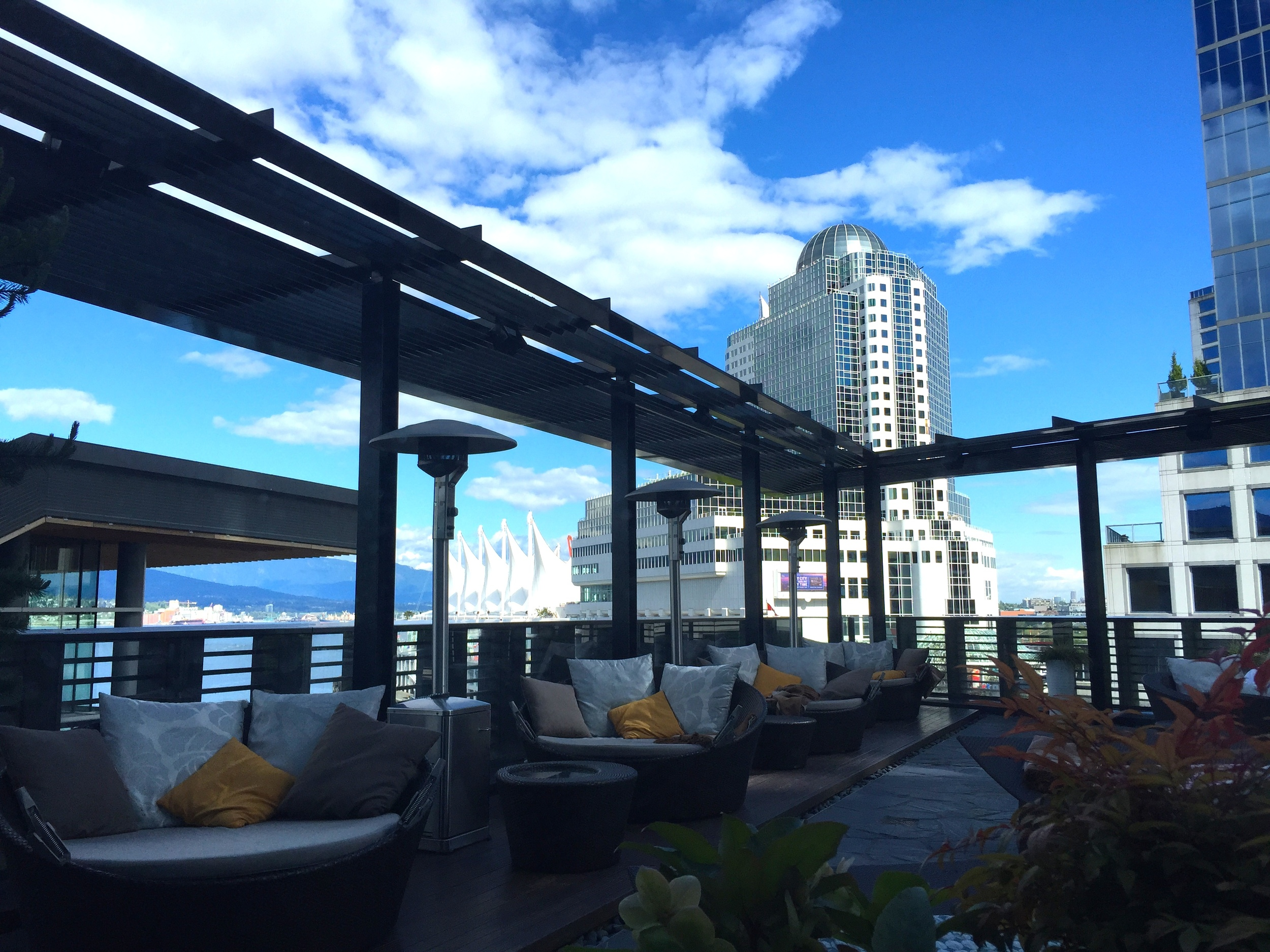 The terrace at Willow Stream Spa , the cherry on top of an8,500-sf urban sanctuarytowering over the Vancouver Harbor.