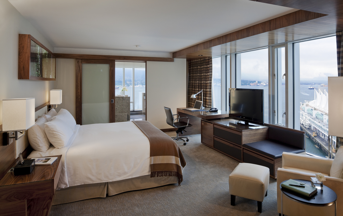 Our room with floor-to-ceiling views of the waterfront.