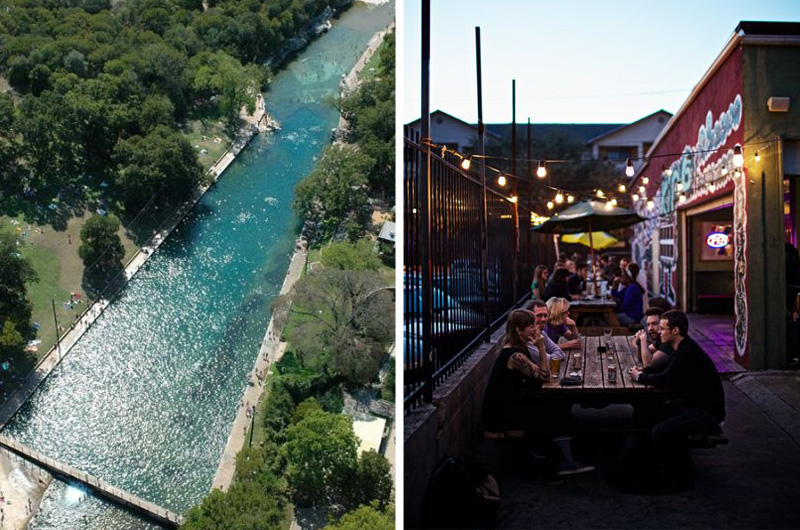 Barton Springs Pool / Hole in the Wall dive bar