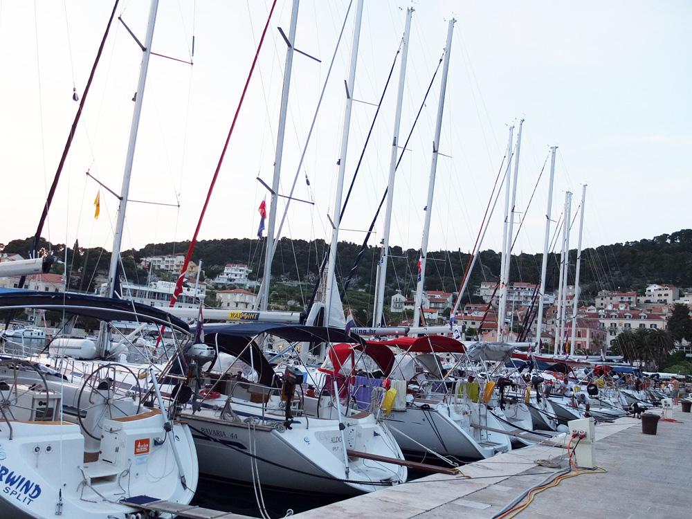 Sailboats lined up alongthe Hvar harbor