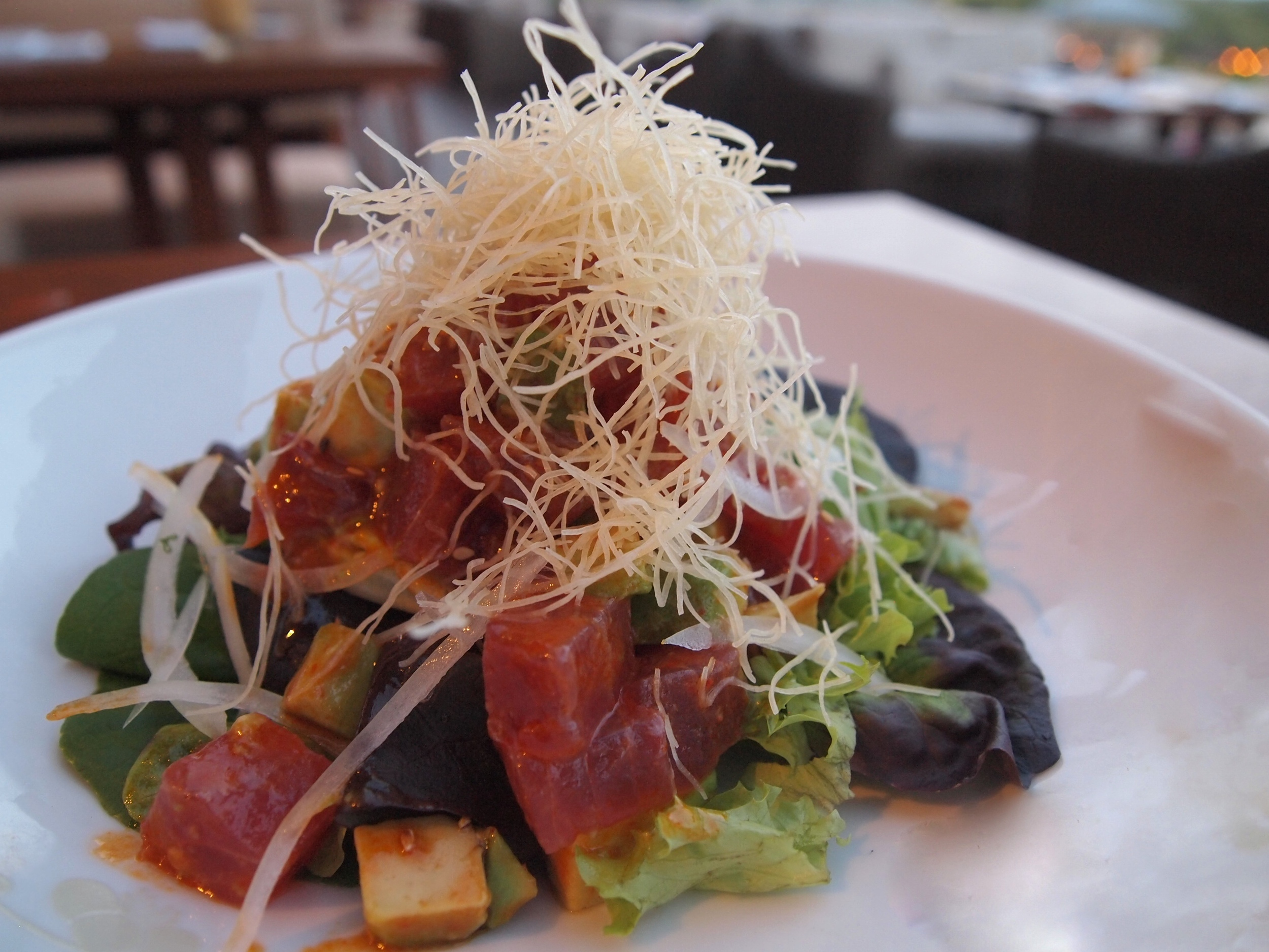 NOBU LANAI's fresh tuna salad withgreens from its on-site lettuce patch