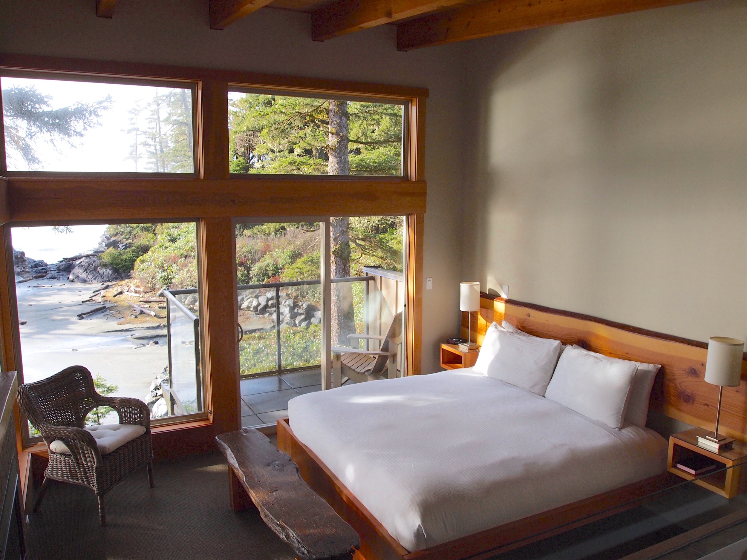 The perfect perch to take in the sand and surf view: The master bedroom in a Beach House at  Pacific Sands Beach Resort .