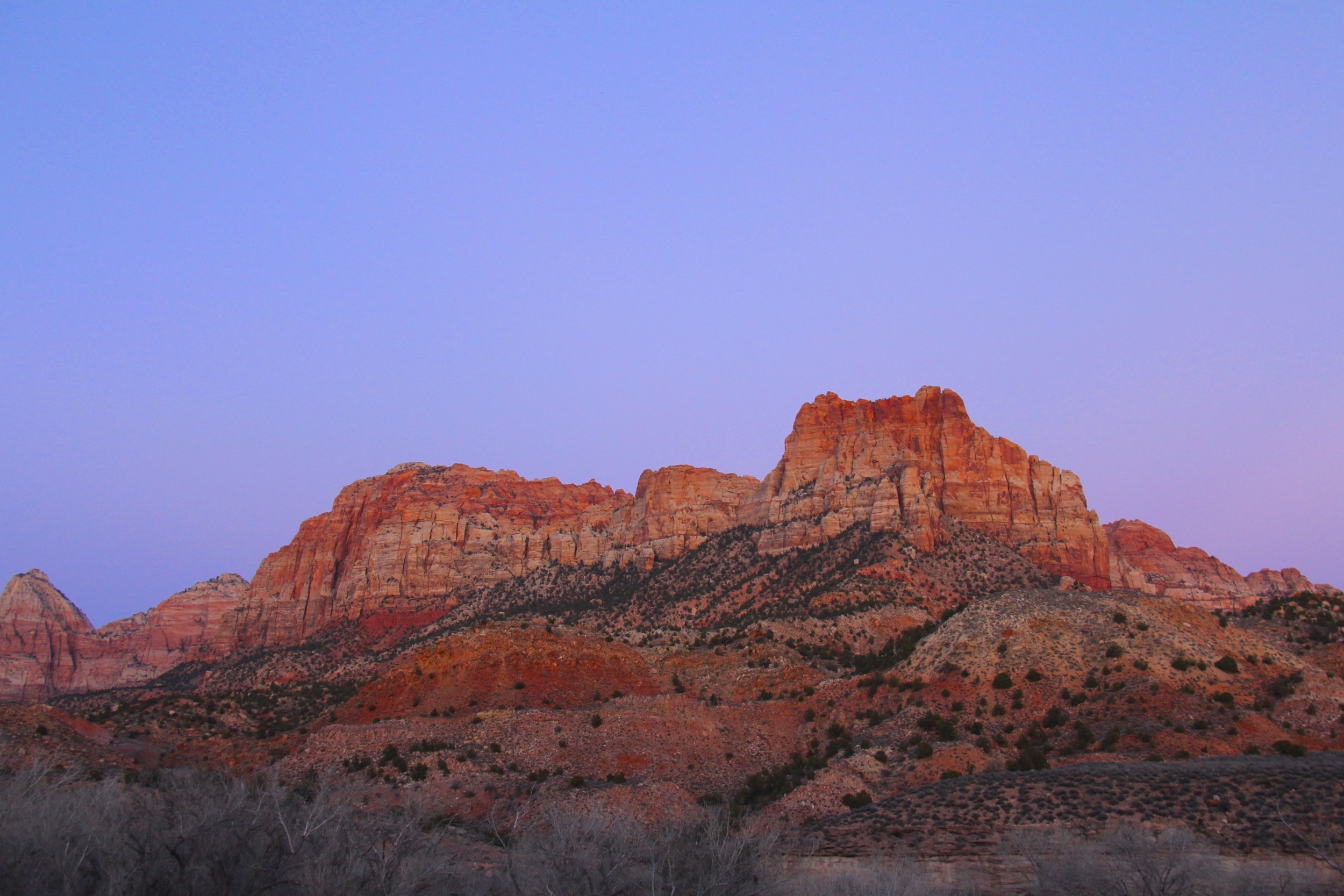 Dusk turns Zion National Park into a purple-hued paradise. Talk about mood lighting.