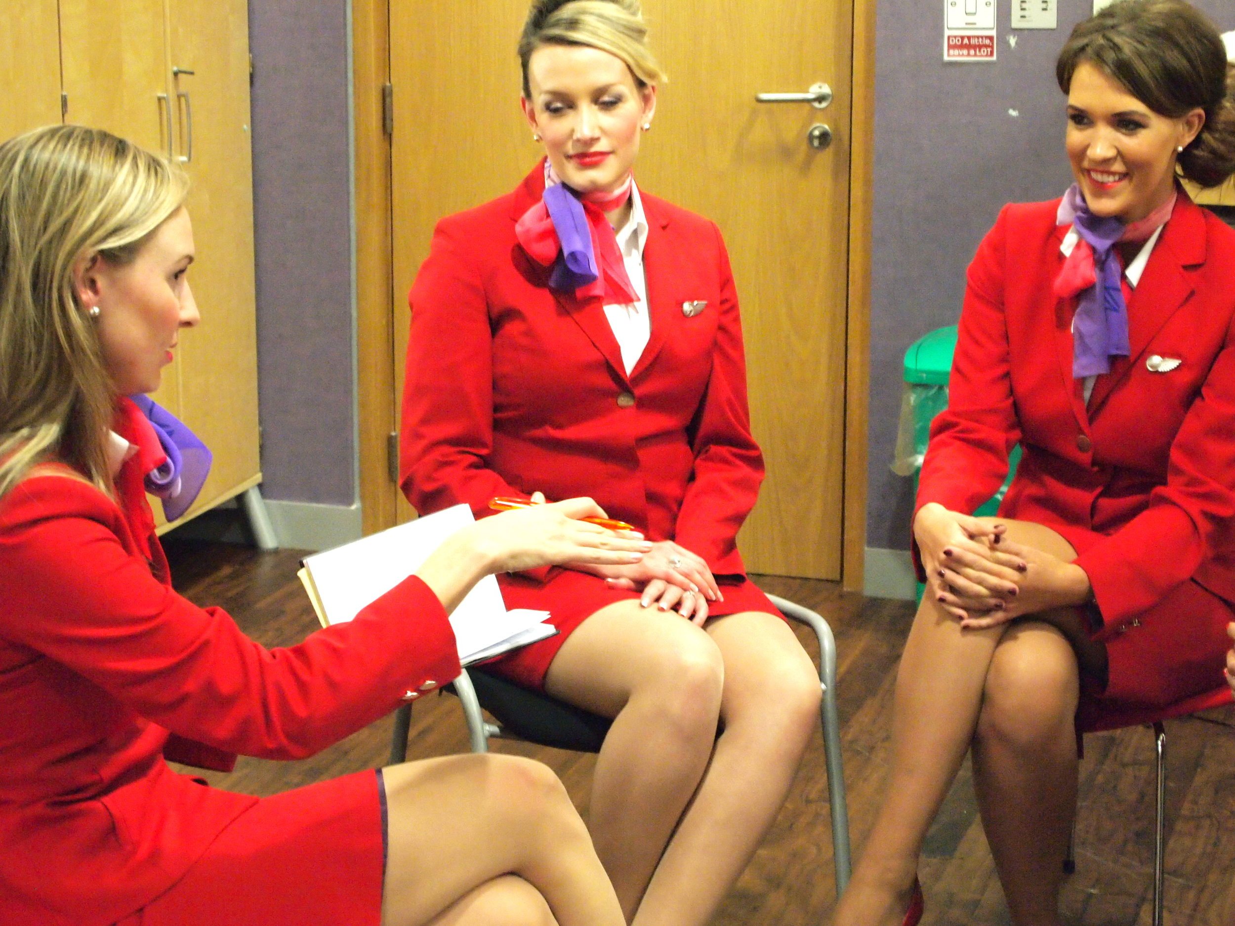 Me {left} Interviewing Virgin crew during during a class break