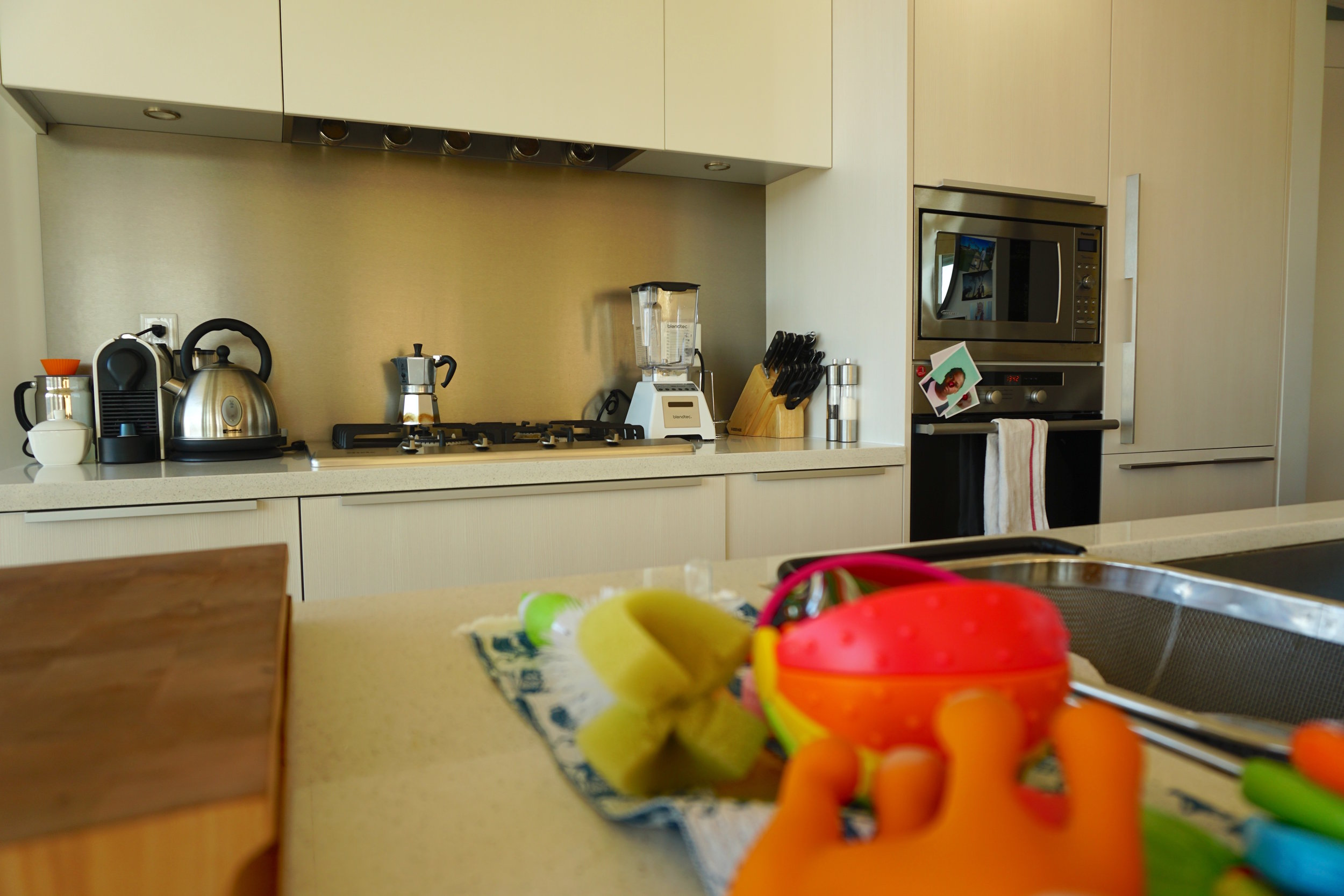 Kitchen, complete with baby teething toys