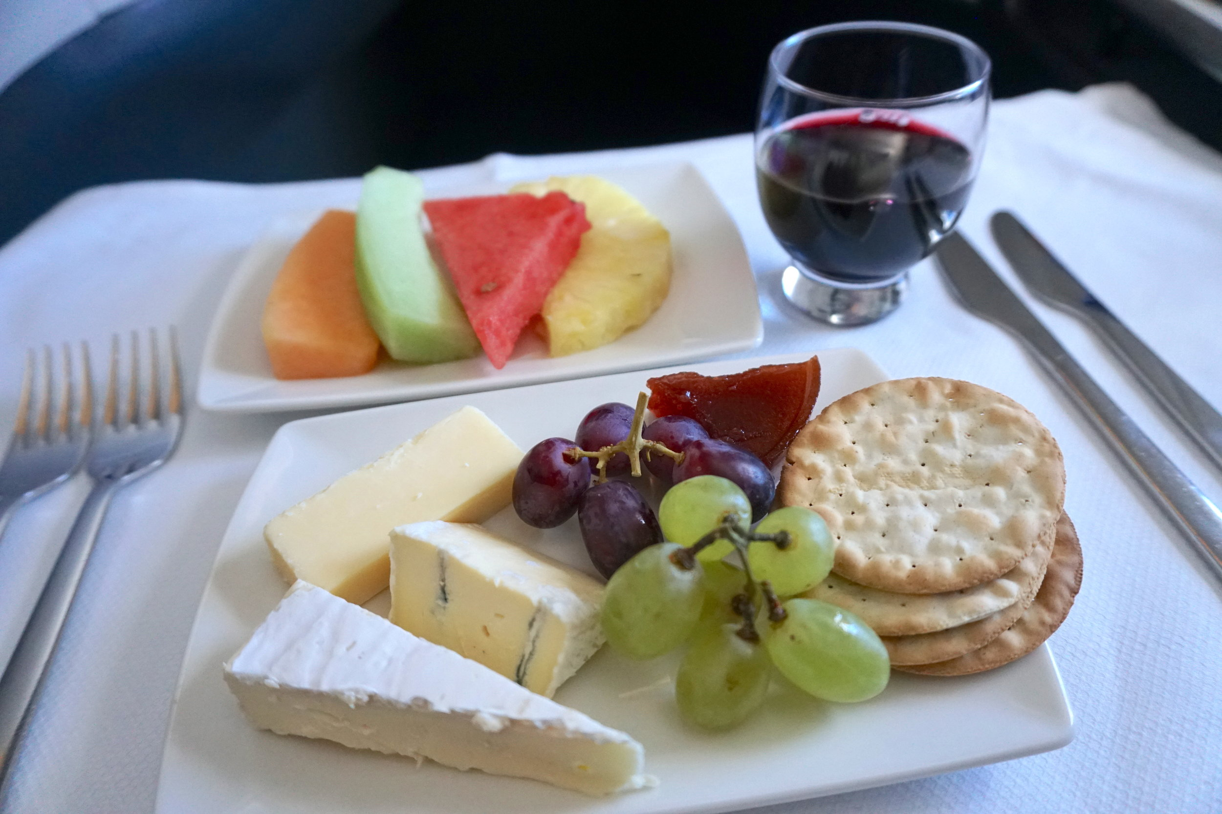Dessert: International cheese selection with grapes and quince jam paired with Port