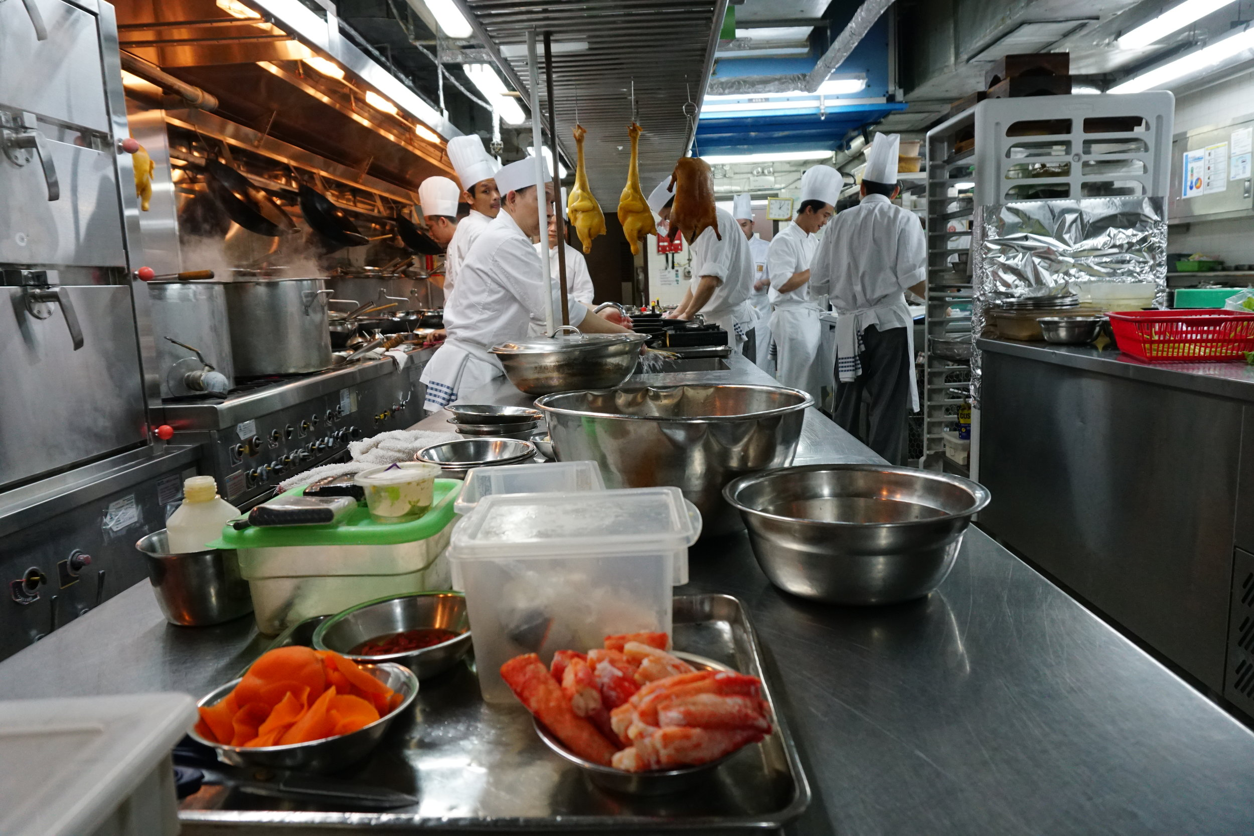 A view of the dim sum prep kitchen.