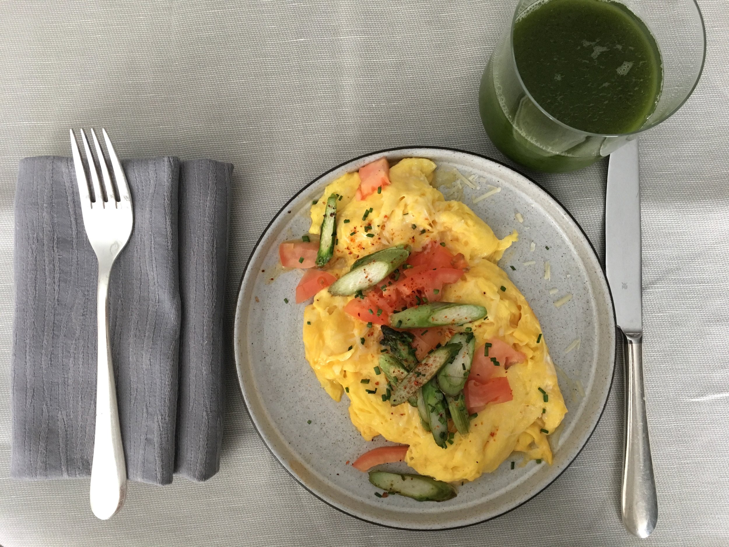 More in-room dining at the Four Seasons Hotel New York Downtown, this time, a asparagus,tomato, and parm scramble.