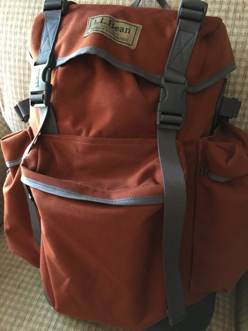 My trusty backpack. Thank you, LL Bean!